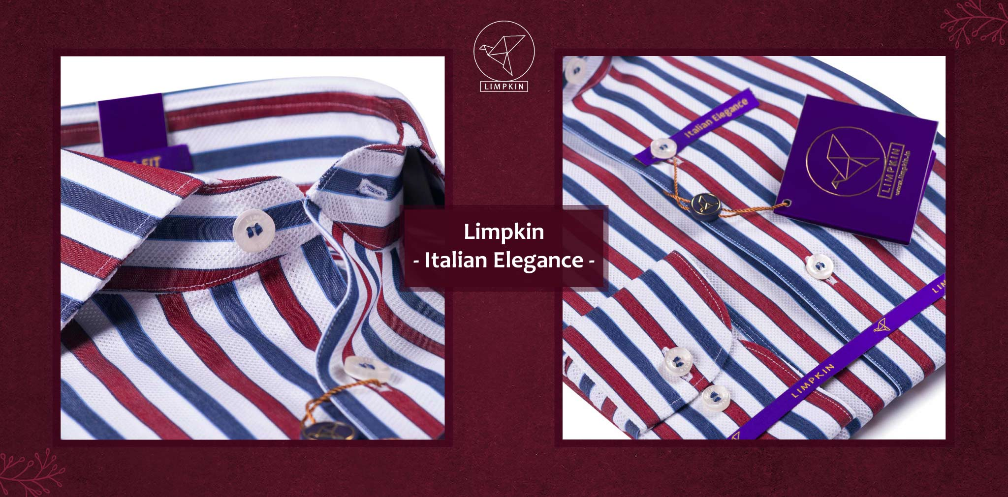 Berkeley- Navy & Burgundy Magical Stripe- 2 Ply Pure Egyptian Giza Cotton- Delivery from 26th Sept - Banner