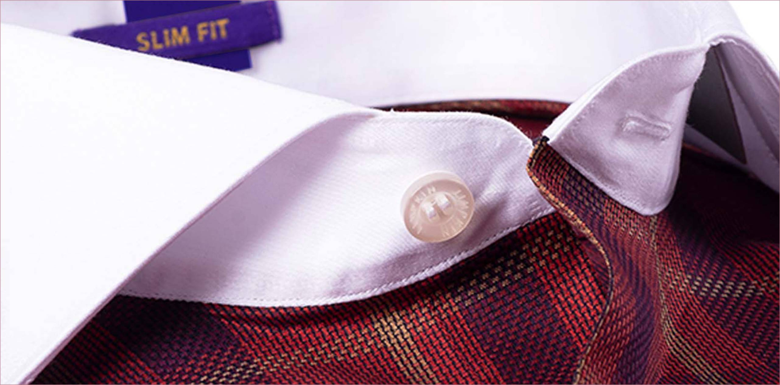 SALAMANCA- BURGUNDY CHECK WITH WHITE COLLAR- 2/120 EGYPTIAN GIZA COTTON- Delivery from 17th Jan - Banner