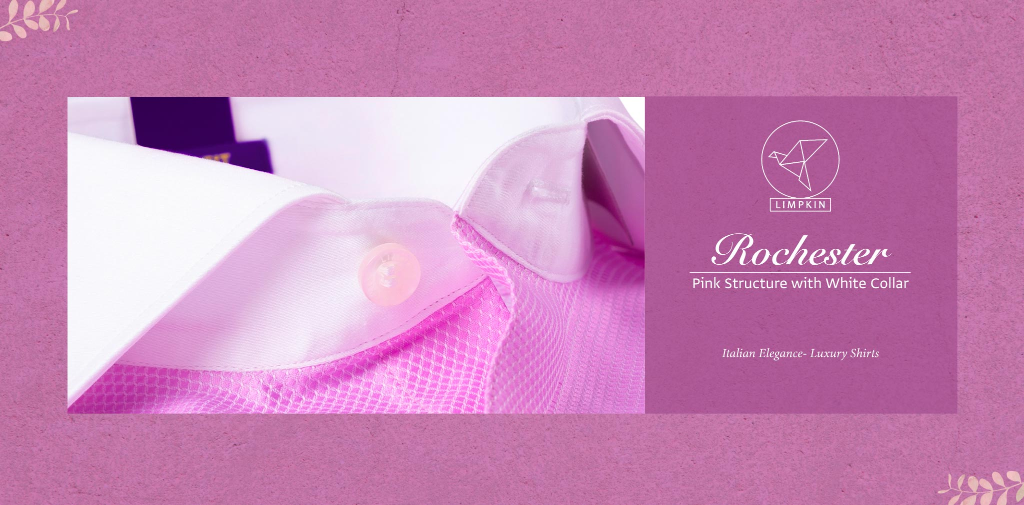 Rochester- Pink Structure with White Collar- 2 Ply Pure Egyptian Giza Cotton- Delivery from 20th Oct - Banner