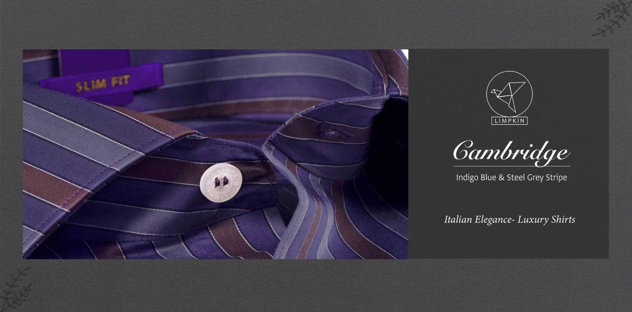 Cambridge- Indigo Blue & Steel Grey Stripe- 2 Ply Pure Egyptian Giza Cotton- Delivery from 20th Oct - Banner