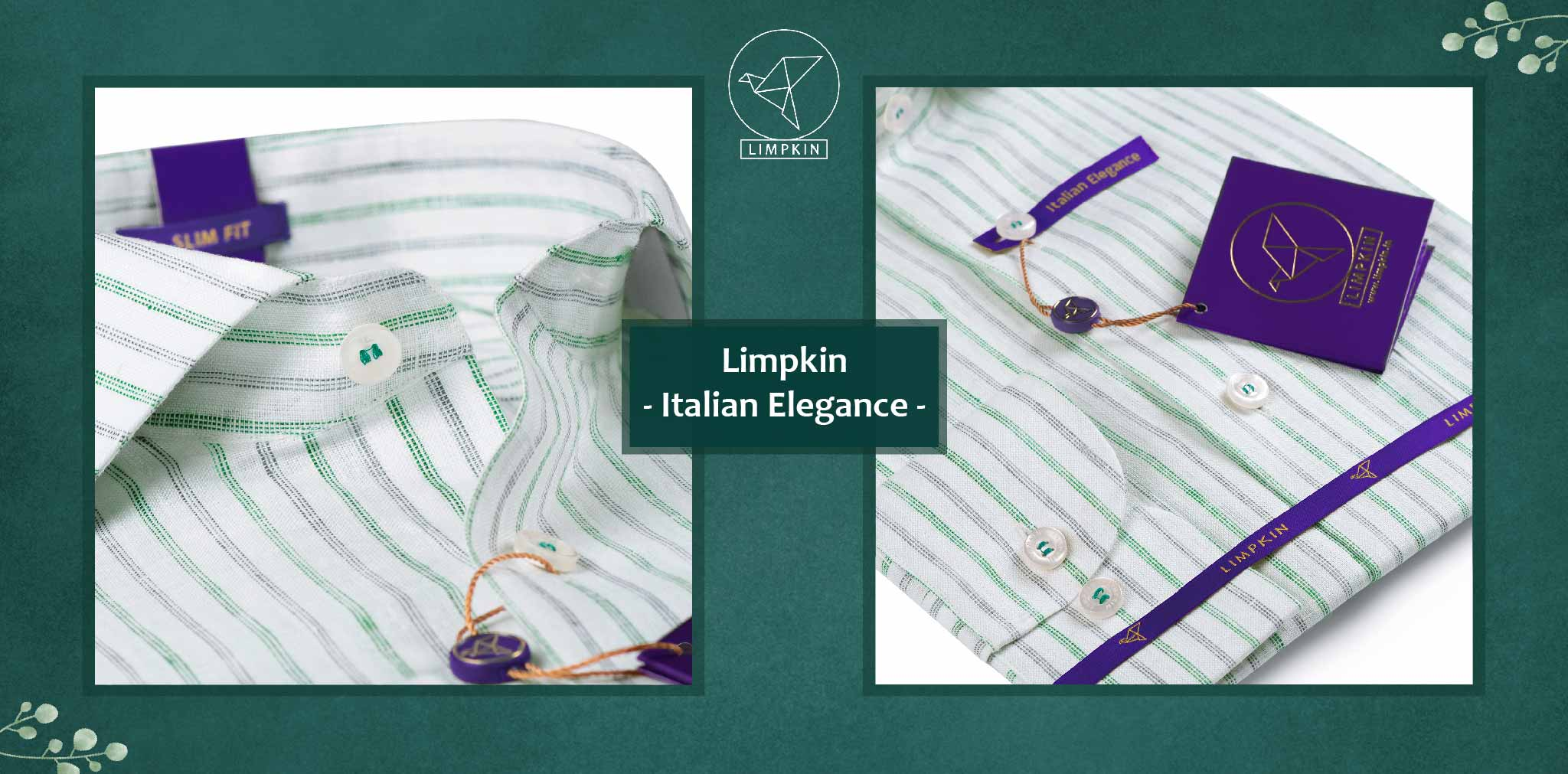 Agrinio- Emerald Green and Steel Grey Stripe- 66's Lea Pure Luxury Linen- Delivery from 10th March - Banner