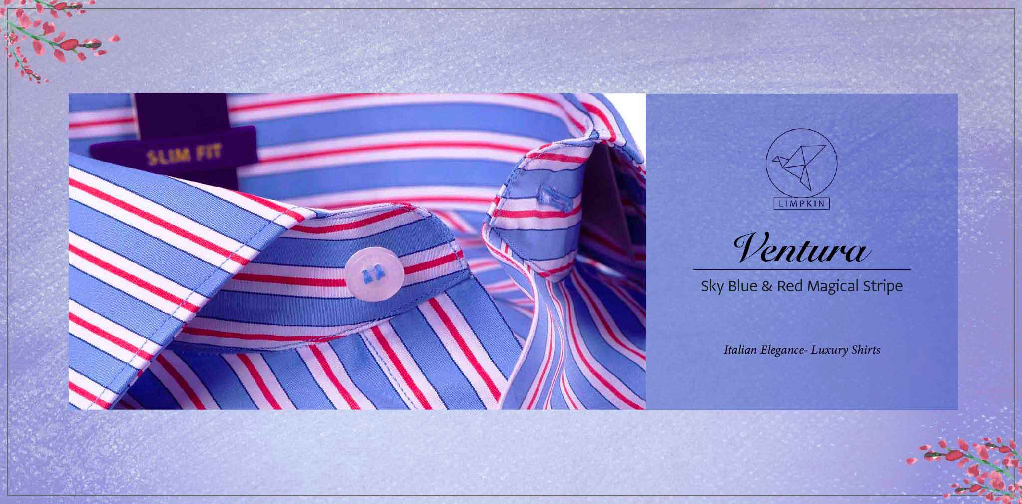 Ventura- Sky Blue & Red Magical Stripe- 2 Ply Pure Egyptian Giza Cotton- Delivery from 26th Jan - Banner