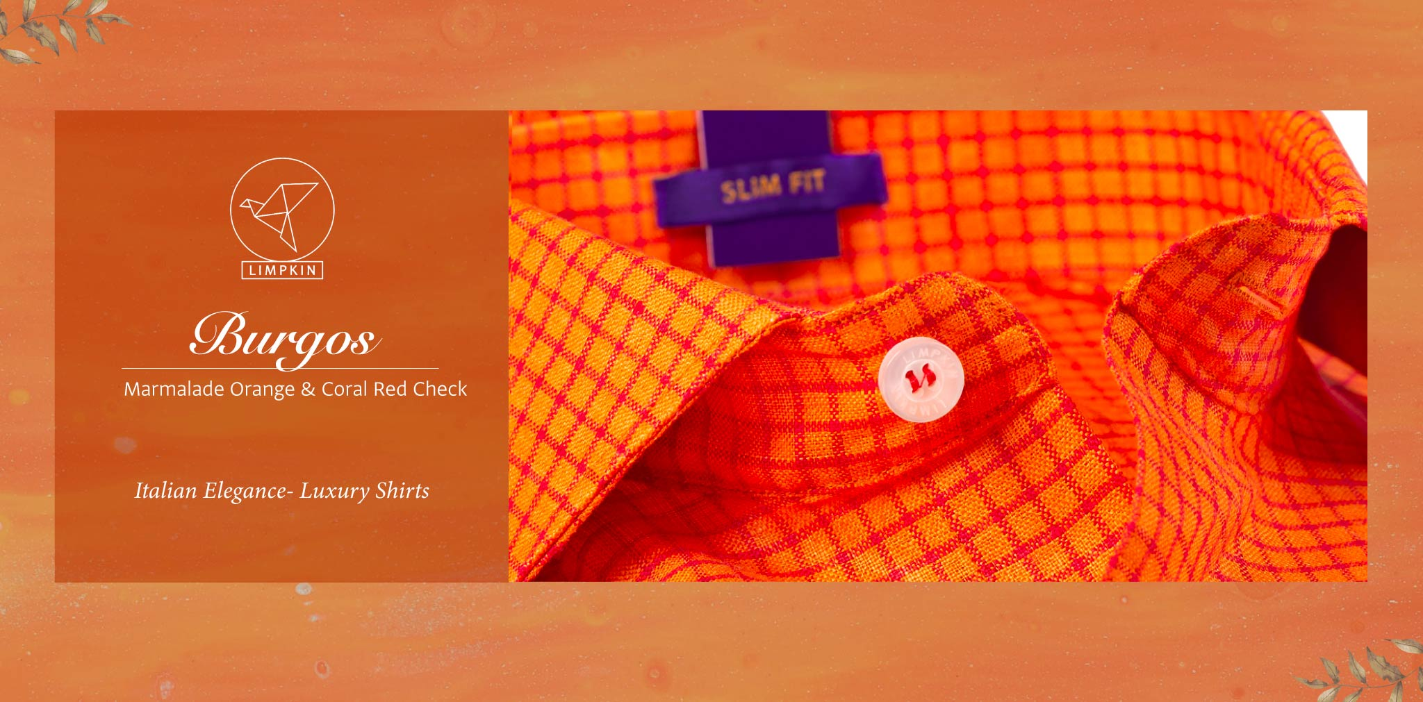 Burgos- Marmalade Orange & Coral Red Check- 66's Lea Pure Luxury Linen- Delivery from 26th Sept - Banner