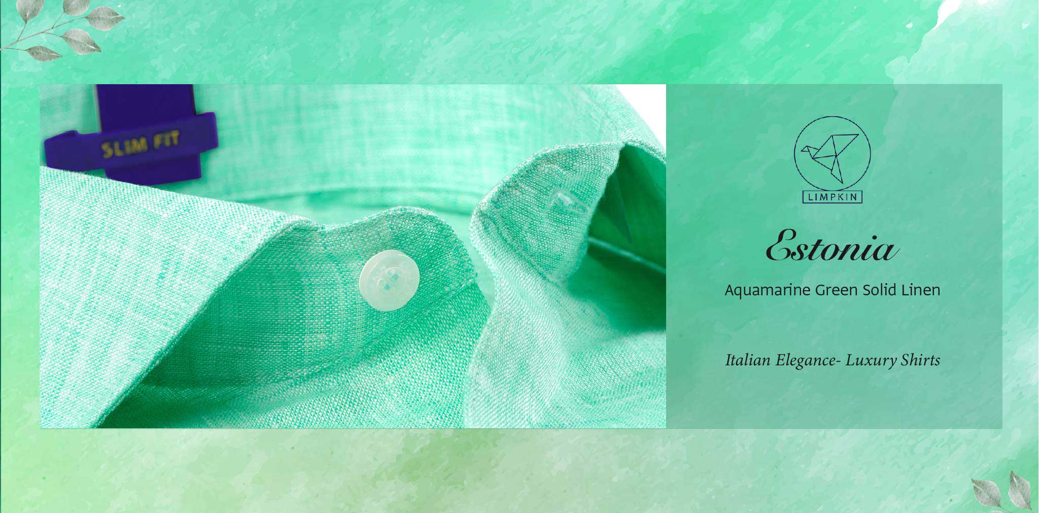 Estonia- Aquamarine Green Solid Linen- 66's Lea Pure Luxury Linen- Delivery from 26th Jan - Banner