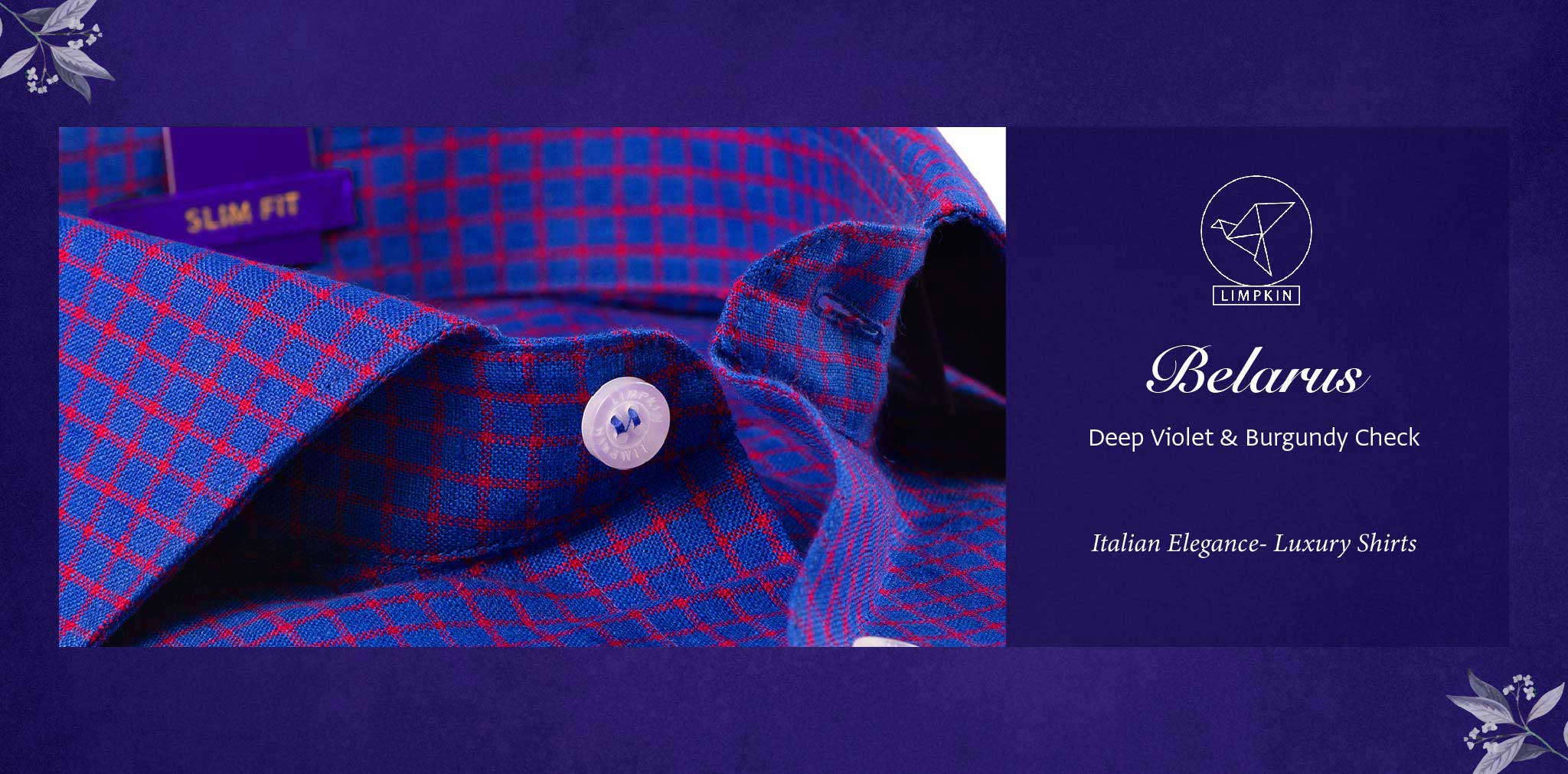 Belarus- Deep Violet & Burgundy Check- 66's Lea Pure Luxury Linen- Delivery from 26th Jan - Banner