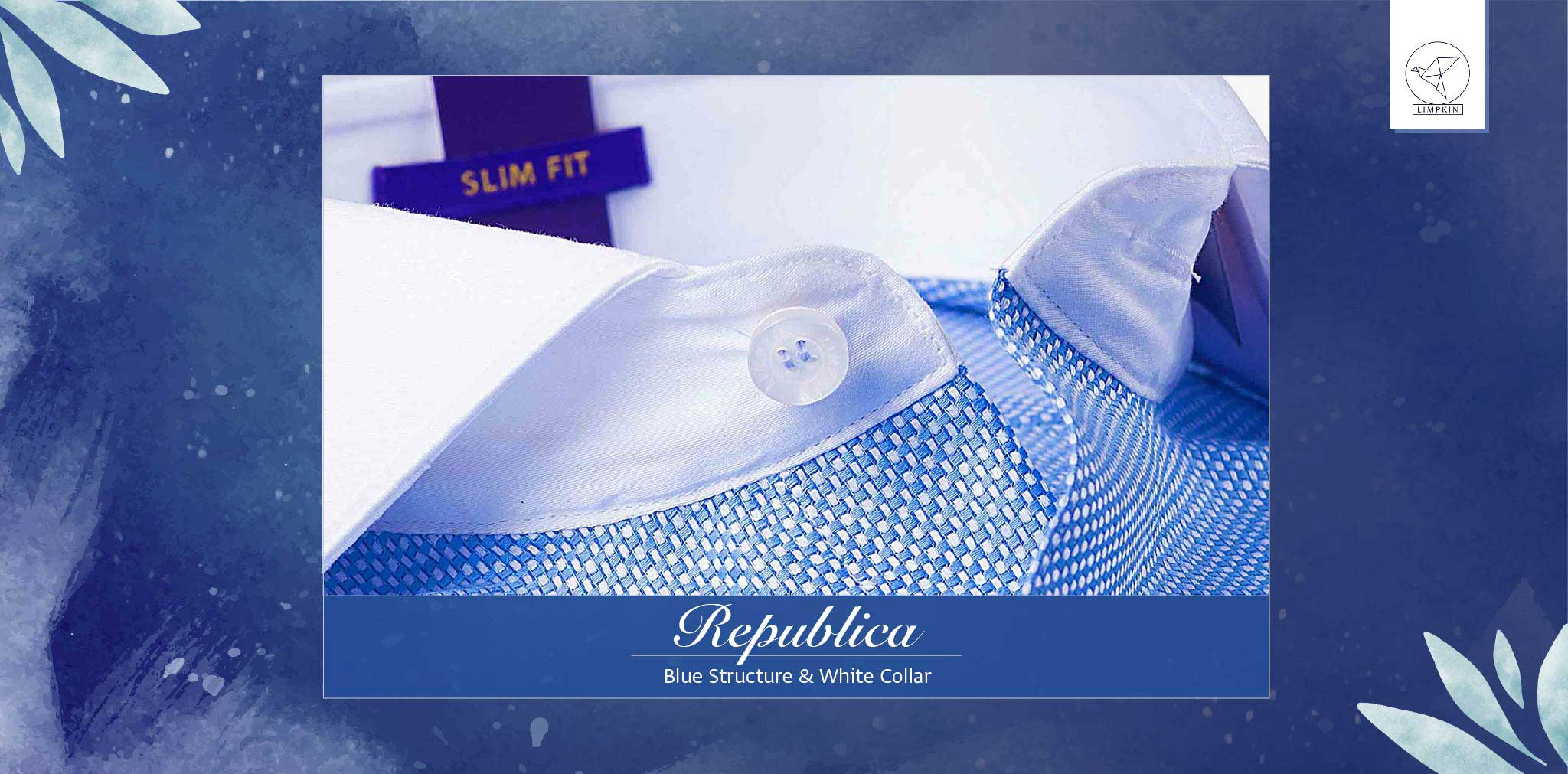 Republica- Blue Structure with White Collar- 2 Ply Pure Egyptian Giza Cotton- Delivery from 17th May - Banner