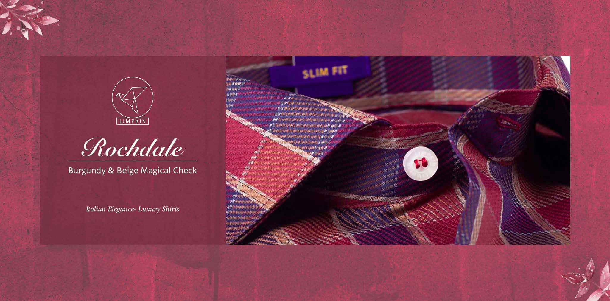 Rochdale- Burgundy & Beige Magical Check- 2 Ply Pure Egyptian Giza Cotton- Delivery from 17th May - Banner