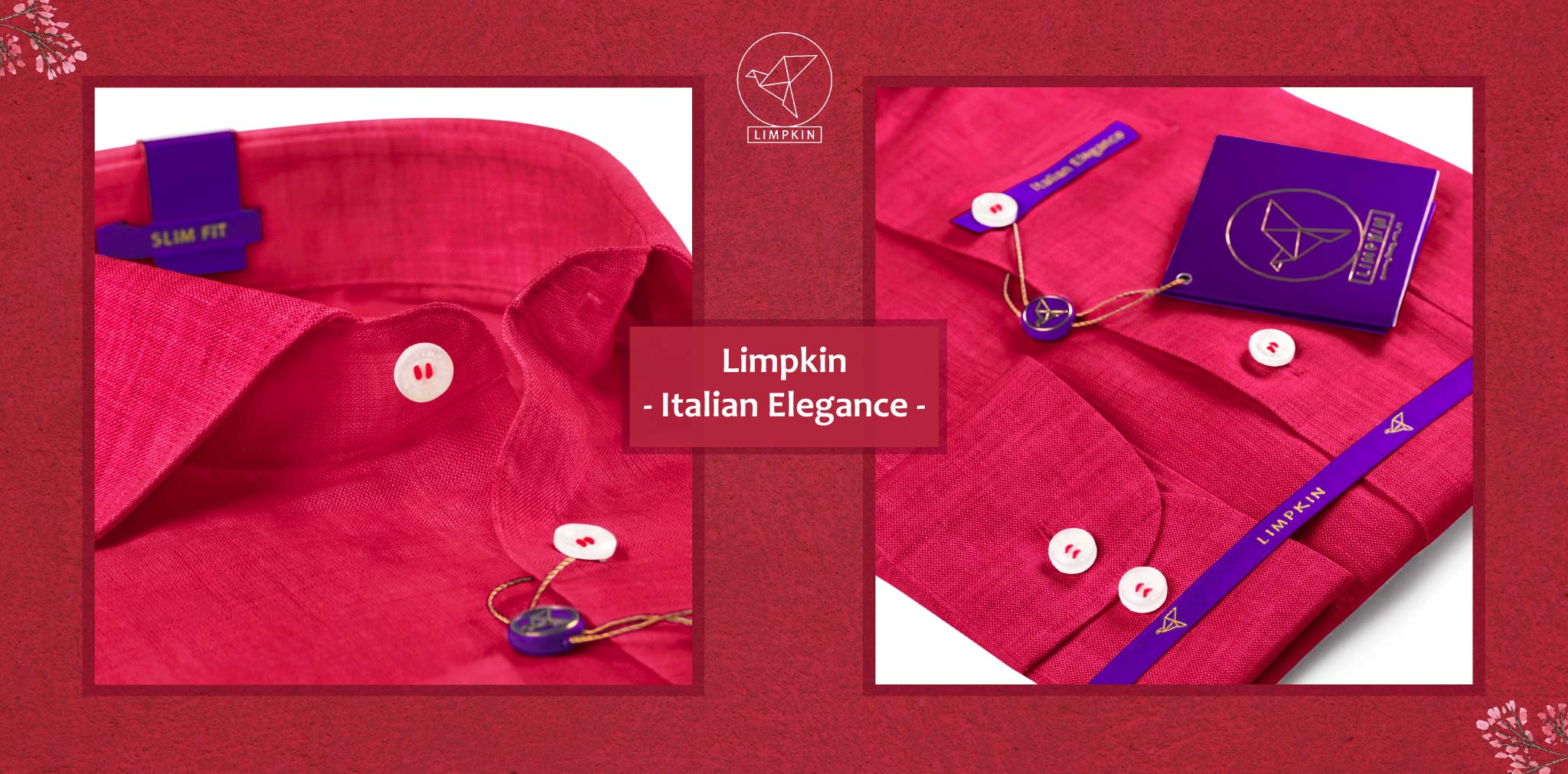 Turin- Crimson Red Solid Linen- 66's Lea Pure Italian Linen- Delivery from 4th August - Banner