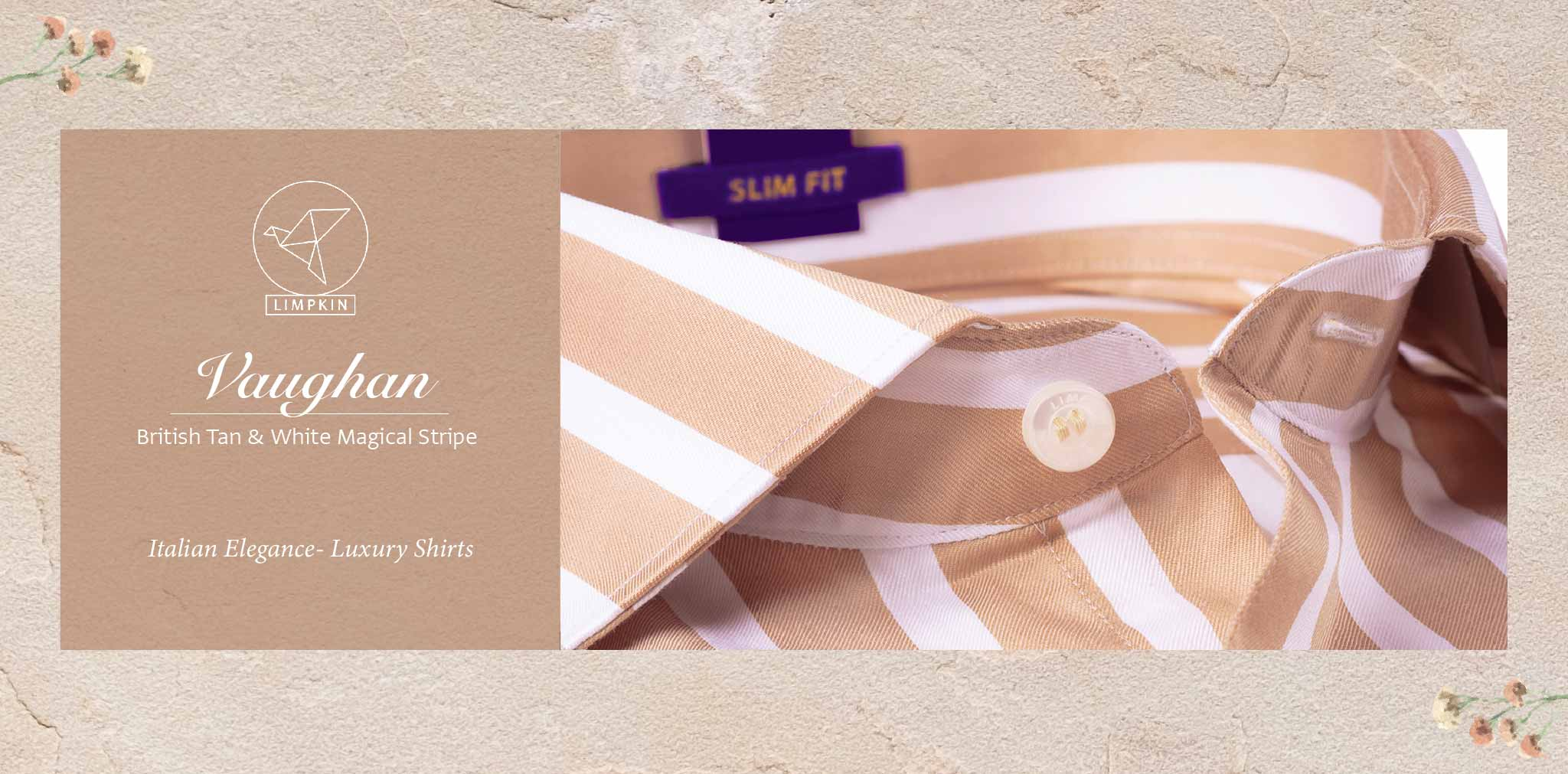 Vaughan- British Tan & White Magical Stripe- 2 Ply Pure Egyptian Giza Cotton - Banner