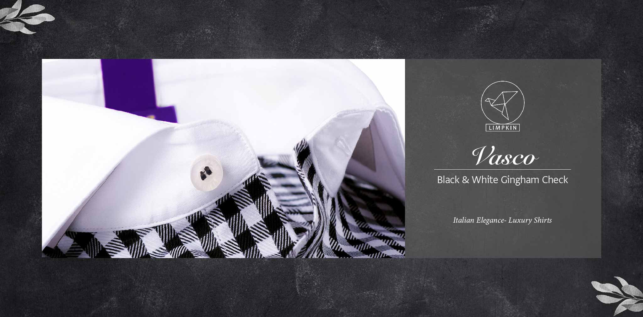 Vasco- Black & White Gingham Check- 2/140 Egyptian Giza Cotton- Delivery from 26th Jan - Banner