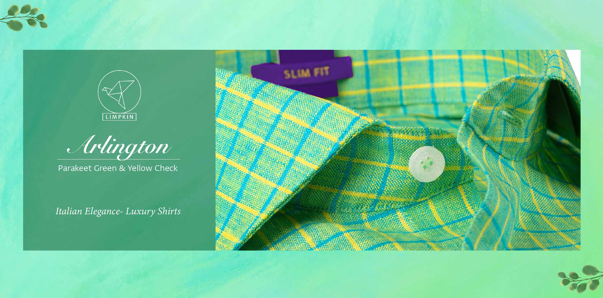 Arlington- Parakeet Green & Yellow Check- 66's Lea Pure Luxury Linen- Delivery from 10th March - Banner