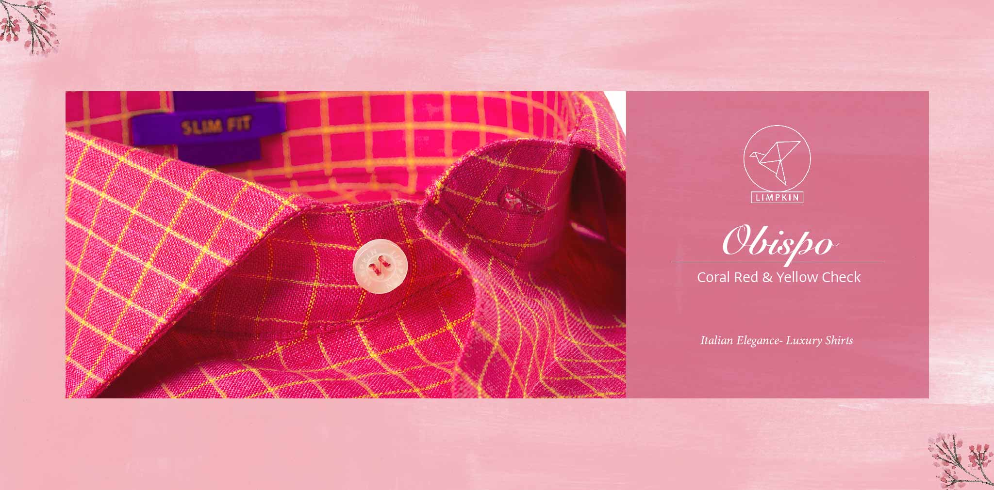 Obispo- Coral Red & Yellow Check- 66's Lea Pure Luxury Linen- Delivery from 10th March - Banner