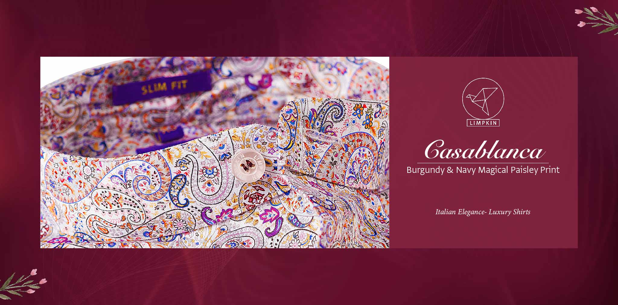 Casablanca- Burgundy & Navy Magical Paisley Print- Delivery from 6th August - Banner