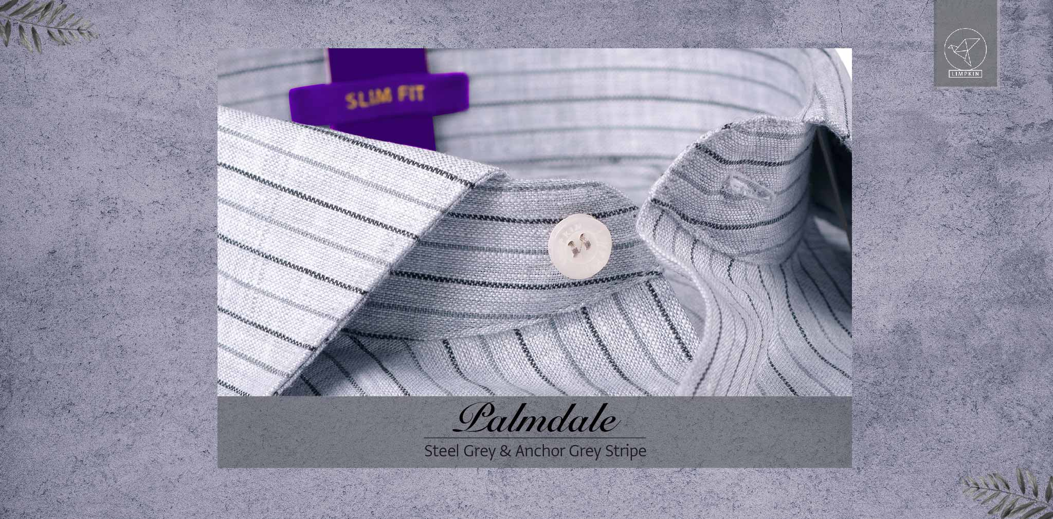 Palmdale- Steel Grey & Anchor Grey Stripe- 66's Lea Pure Luxury Linen- Delivery from 10th March - Banner