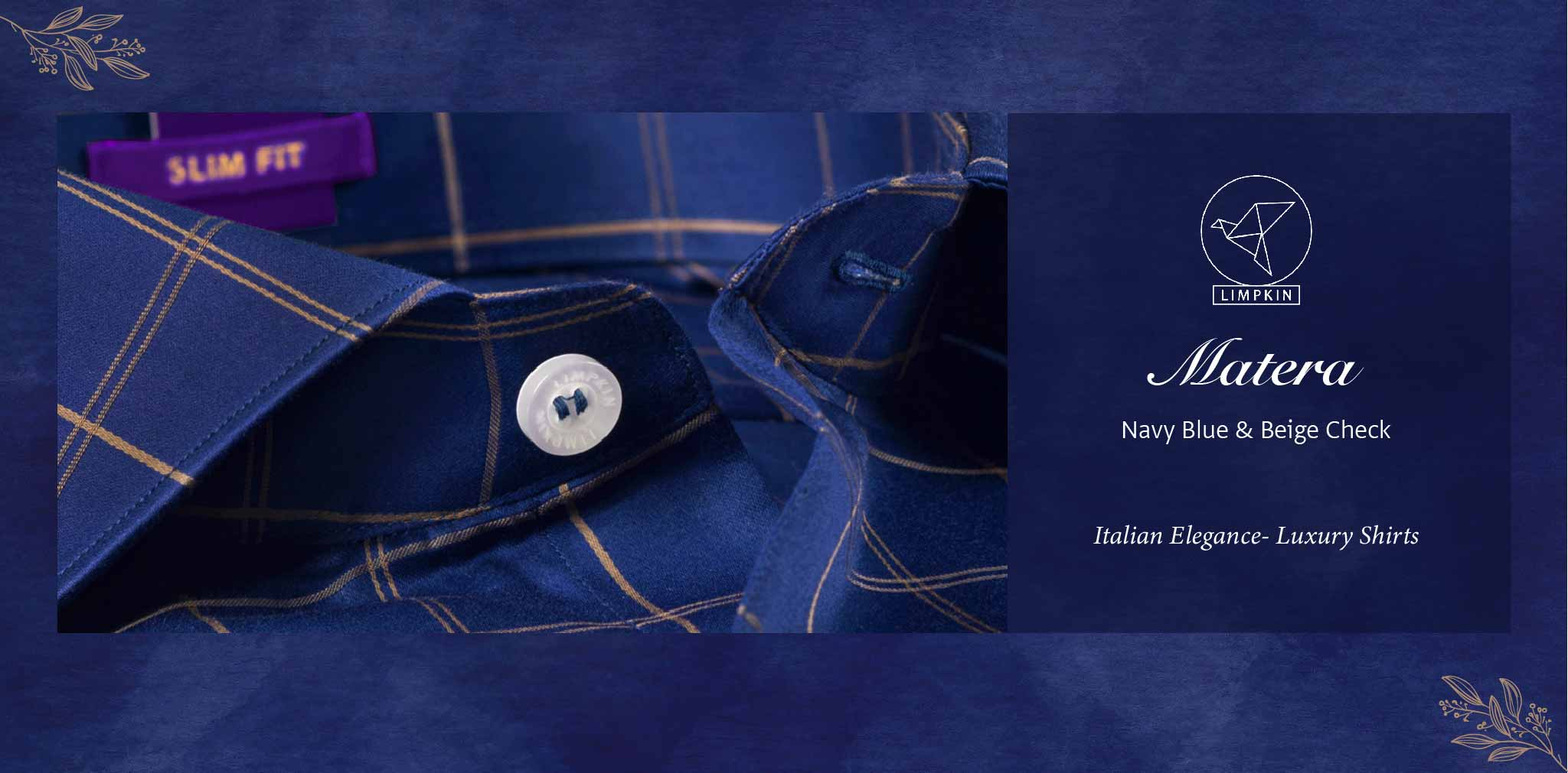 Matera- Navy Blue & Beige Check- 2 Ply Pure Egyptian Giza Cotton- Delivery from 26th Jan - Banner