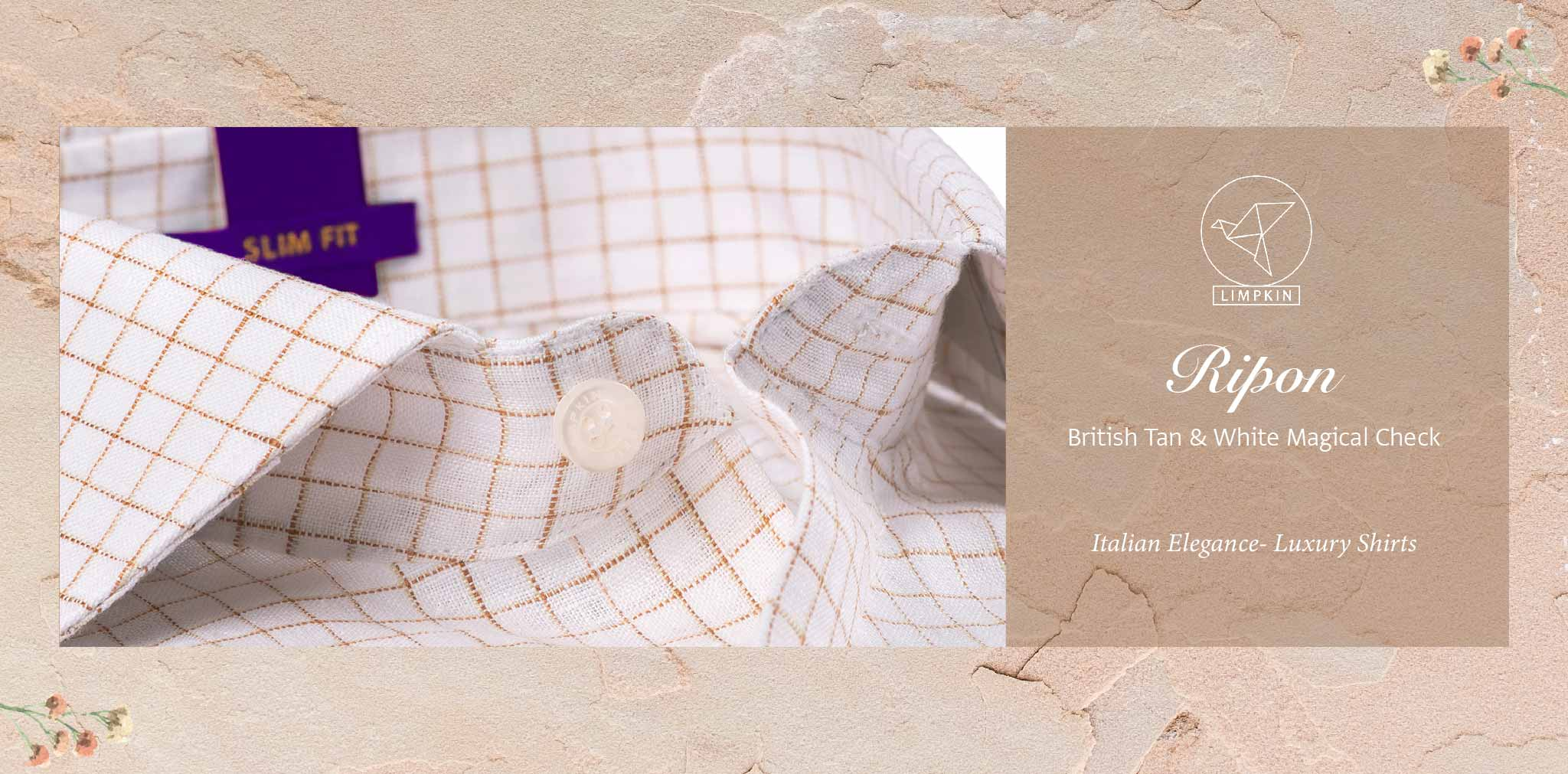 Ripon- British Tan & White Magical Check- 66's Lea Pure Luxury Linen-Delivery from 26th Jan - Banner