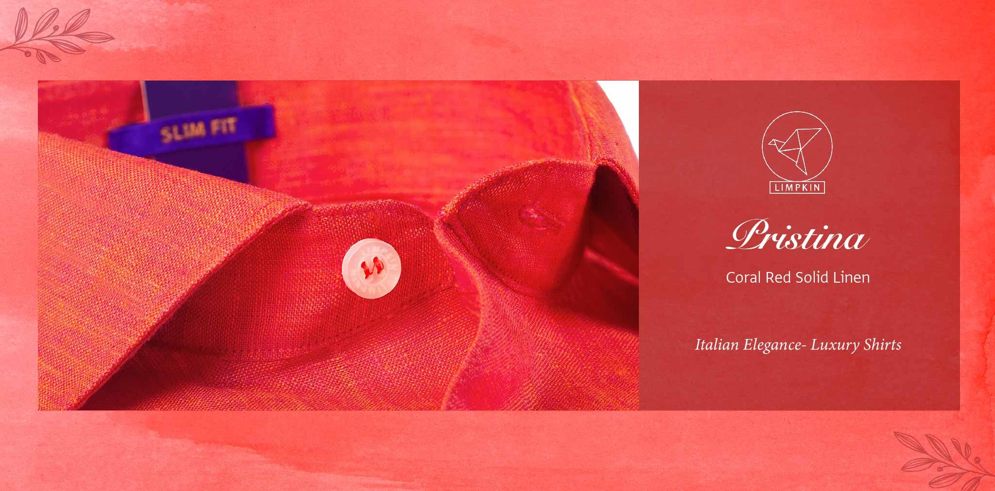 Pristina- Coral Red Solid Linen- 66's Lea Pure Luxury Linen- Delivery from 26th Jan - Banner