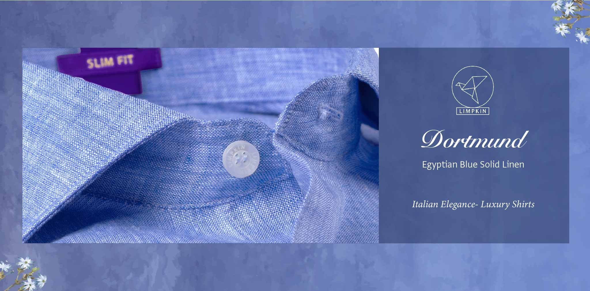 Dortmund- Egyptian Blue Solid Linen- 66's Lea Pure Luxury Linen- Delivery from 19th April - Banner