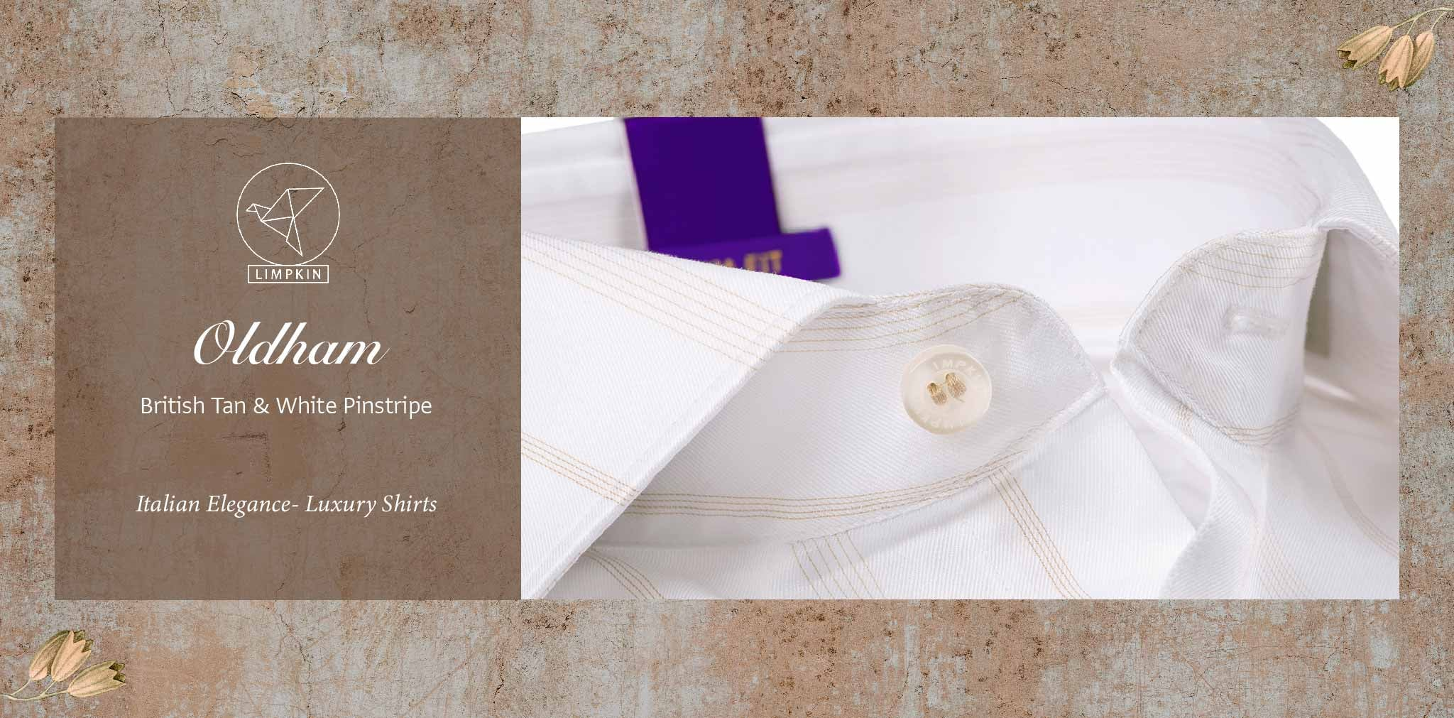 Oldham- British Tan & White Pinstripe- 2 Ply Pure Egyptian Giza Cotton- Delivery from 26th Jan - Banner