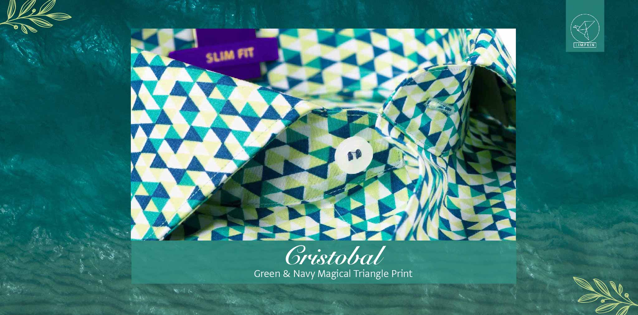 Cristobal- Green & Navy Magical Triangle Print- Pure Egyptian Giza Cotton- Delivery from 26th Jan - Banner