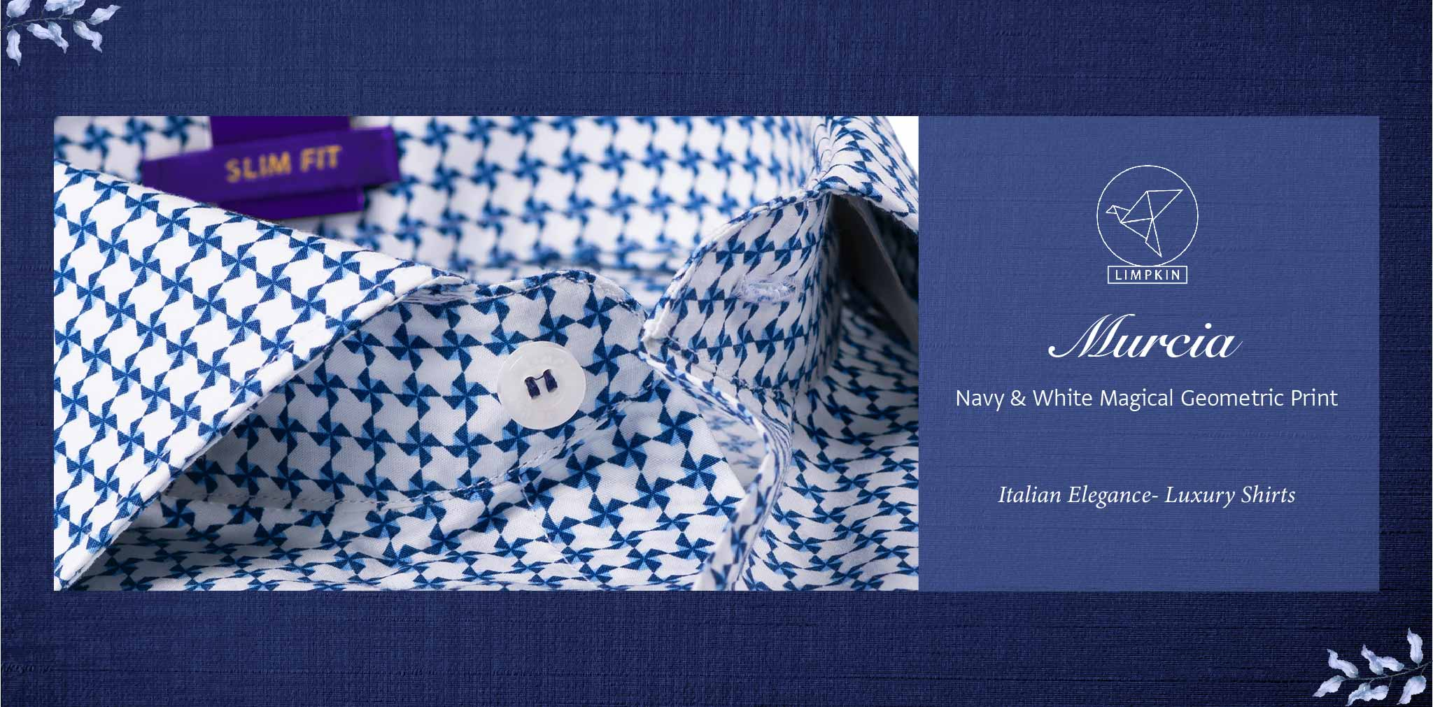 Murcia- Navy & White Magical Geometric Print- Pure Egyptian Giza Cotton- Delivery from 10th March - Banner