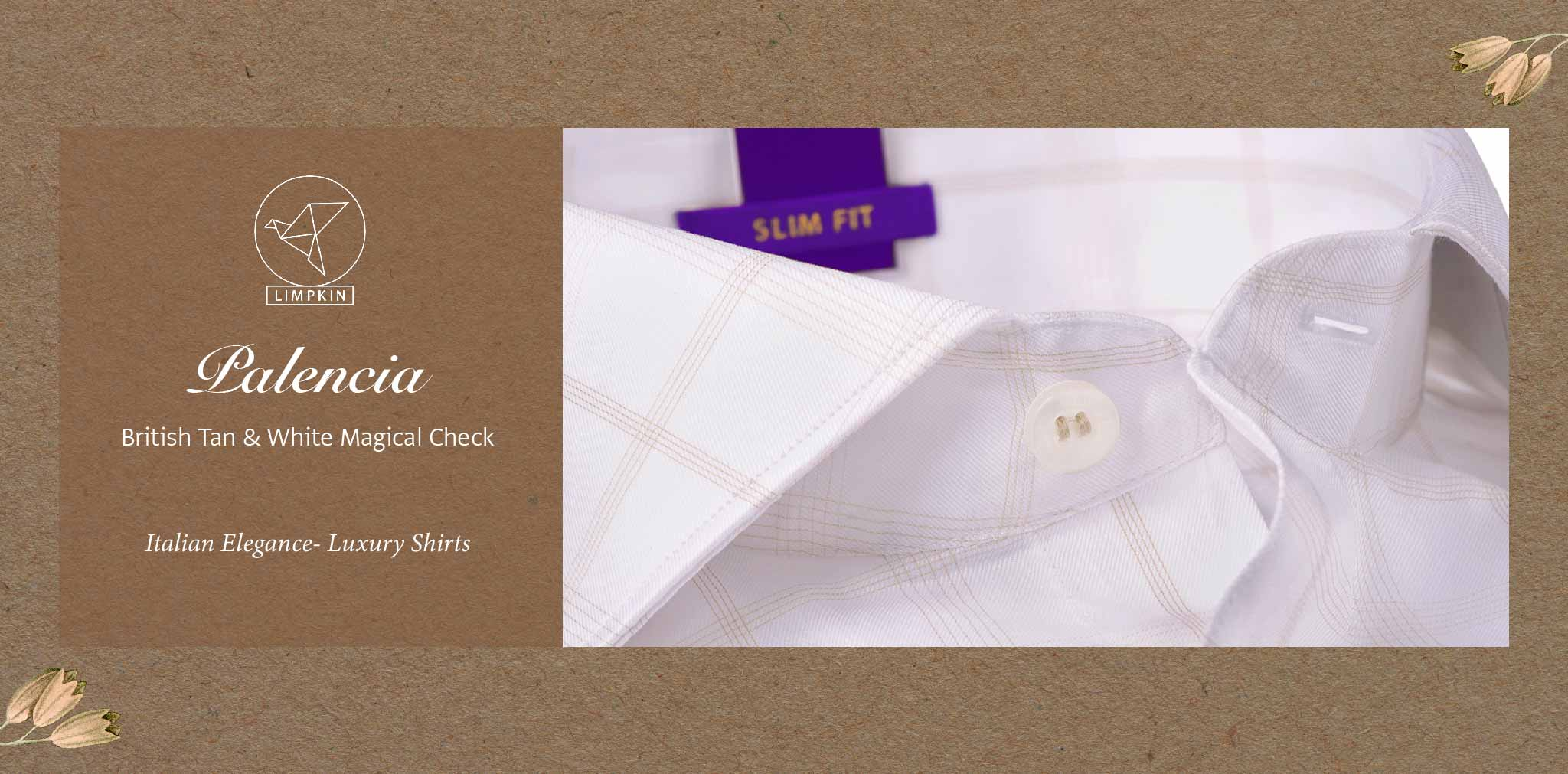 Palencia- British Tan & White Magical Check- 2 Ply Pure Egyptian Giza Cotton- Delivery from 26th Sept - Banner
