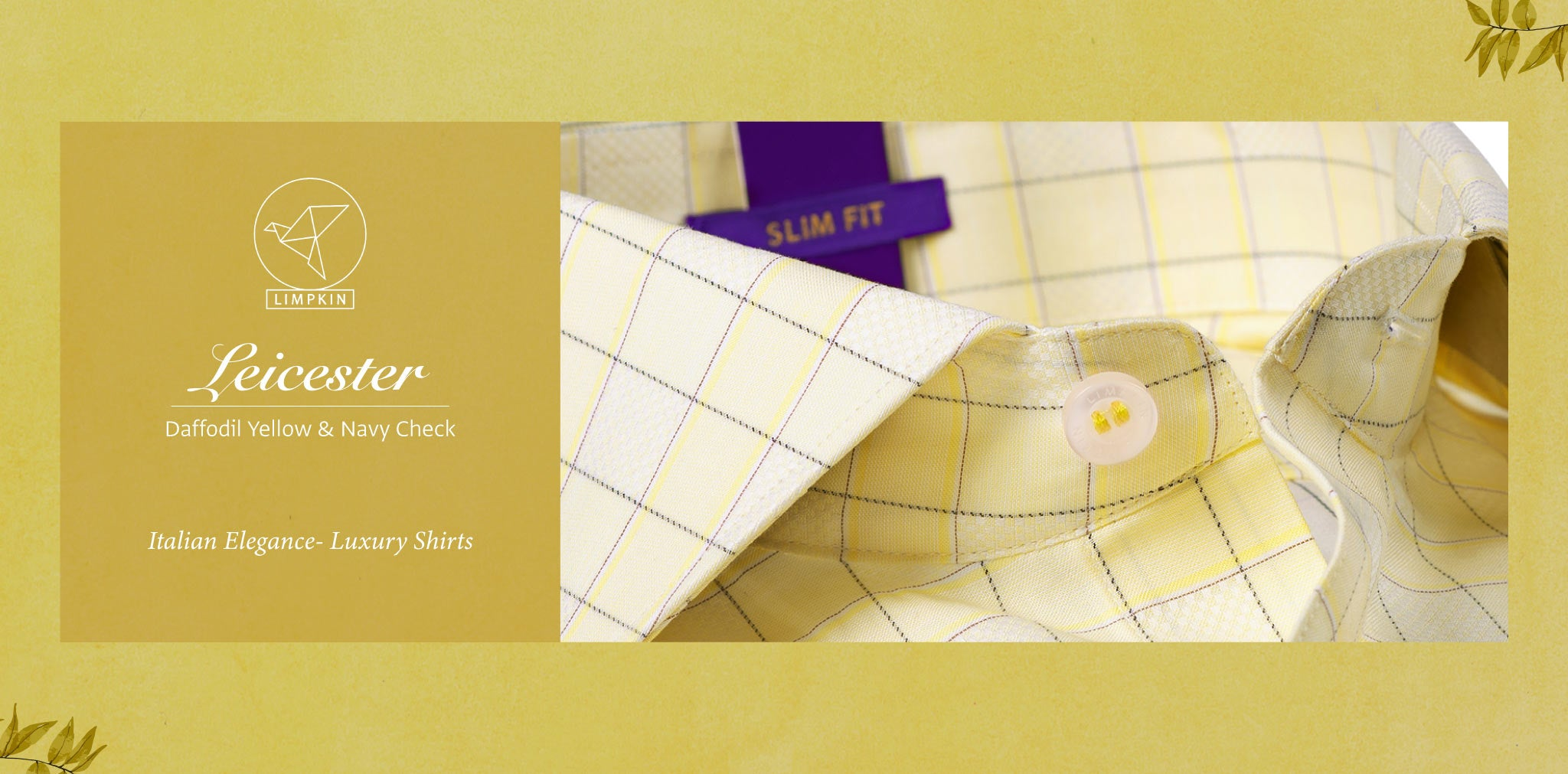 Leicester- Daffodil Yellow & Navy Check- 2 Ply Pure Egyptian Giza Cotton- Delivery from 17th May - Banner