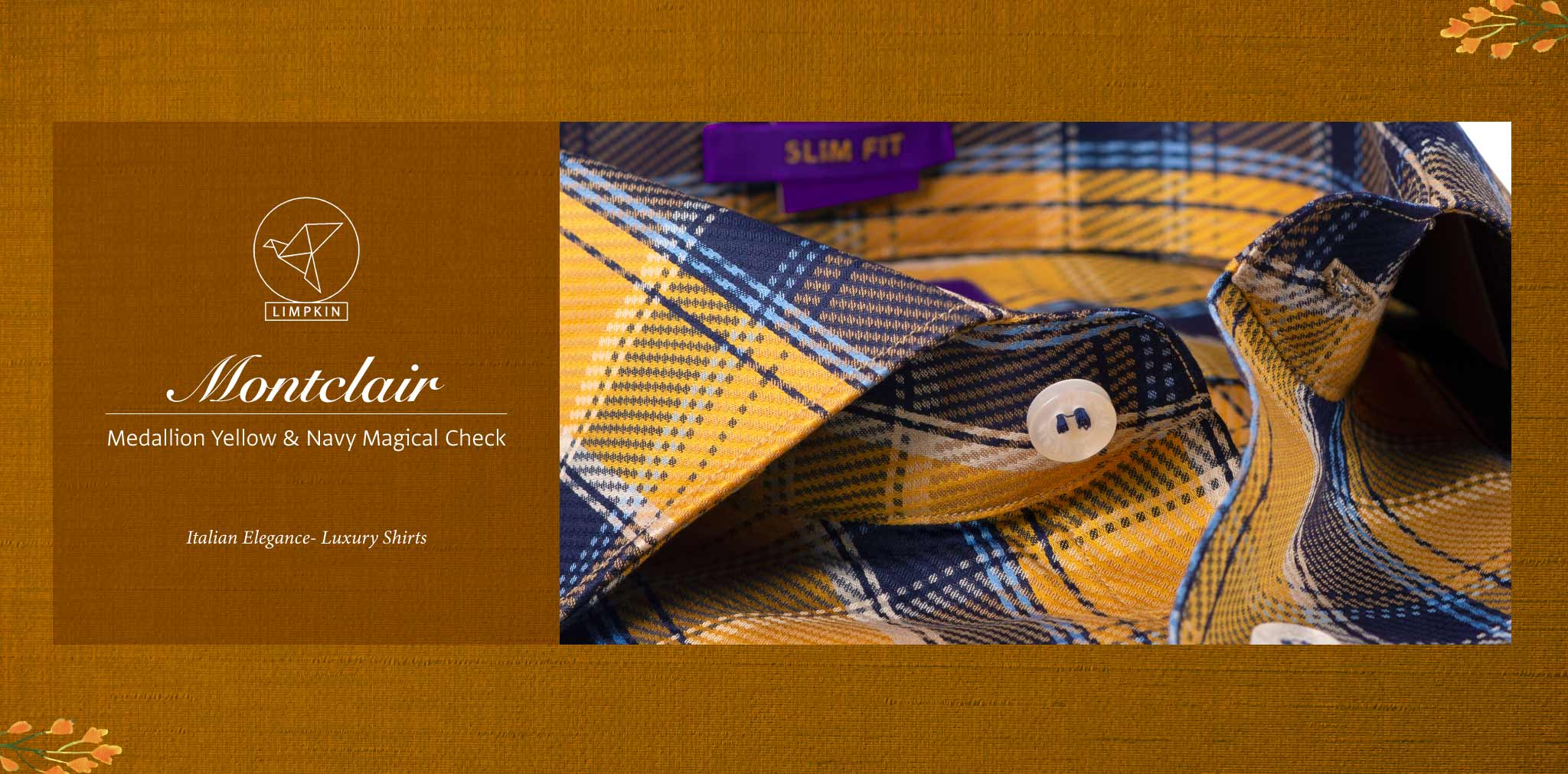 Montclair- Medallion Yellow & Navy Check- 2 Ply Pure Egyptian Giza Cotton- Delivery from 10th March - Banner