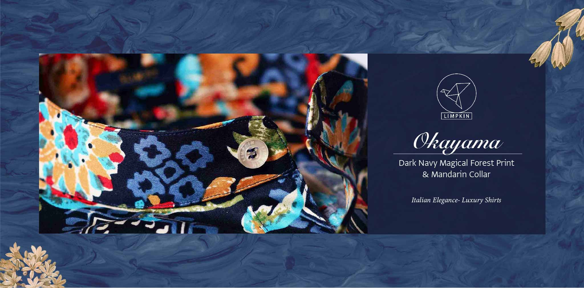 Okayama- Dark Navy Magical Forest Print- Pure Egyptian Giza Cotton- Delivery from 19th April - Banner