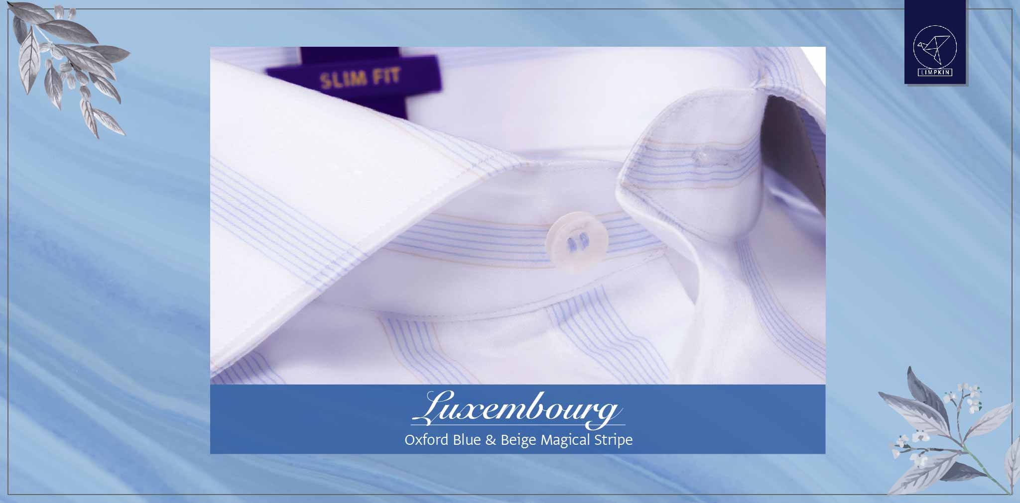 Luxembourg- Oxford Blue & Beige Magical Stripe- 2 Ply Pure Egyptian Giza Cotton- Delivery from 19th April - Banner
