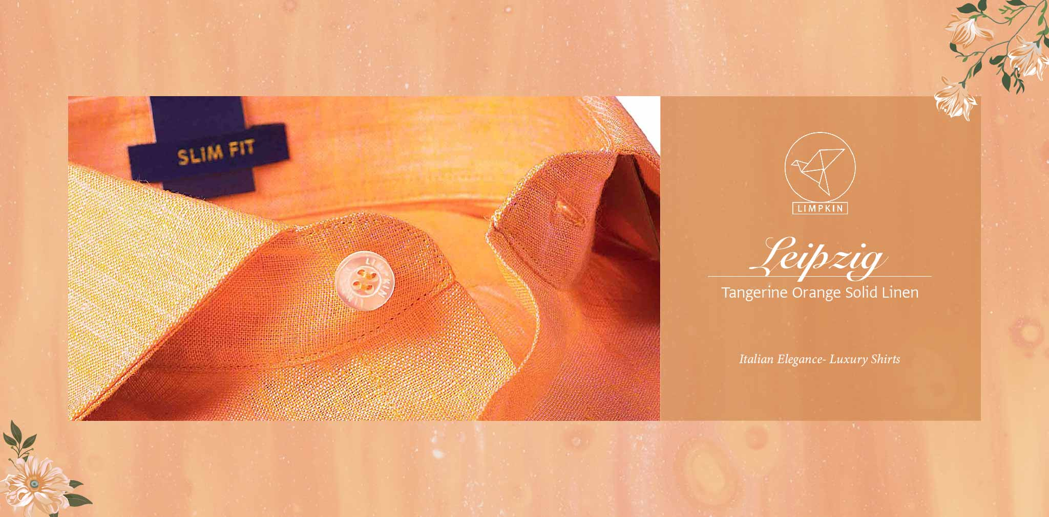 Leipzig- Tangerine Orange Solid Linen- 66's Lea Pure Italian Linen- Delivery from 20th Oct - Banner