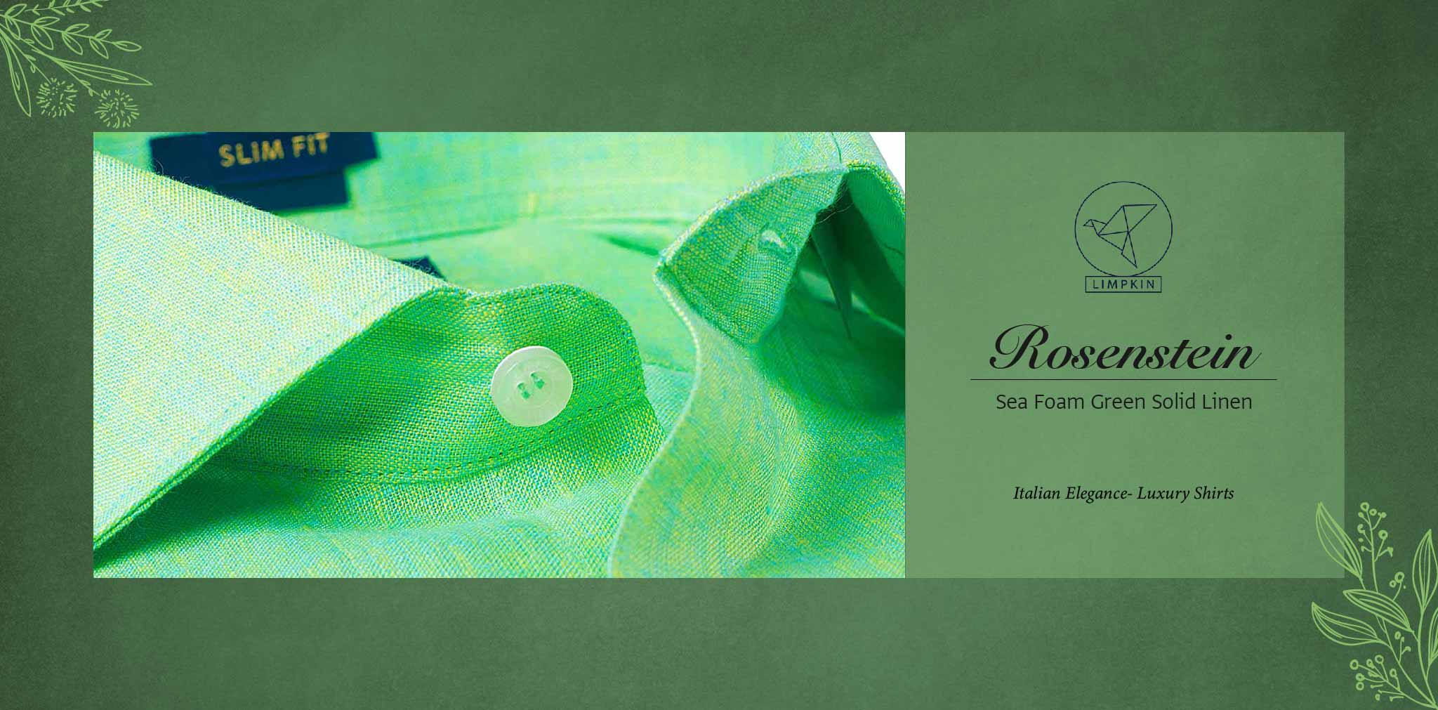 Rosenstein- Sea Foam Green Solid Linen- 66's Lea Pure Italian Linen- Delivery from 16th Jan - Banner
