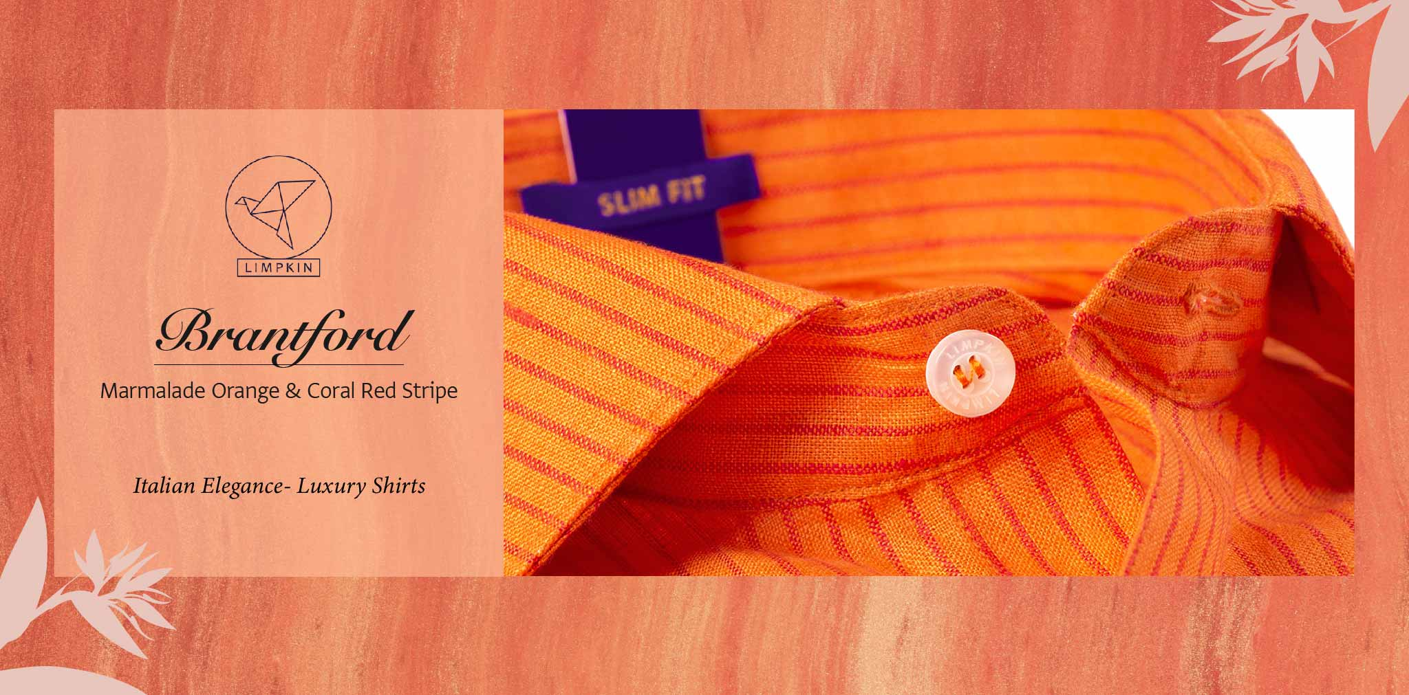 Brantford- Marmalade Orange & Coral Red Stripe- 66's Lea Pure Luxury Linen- Delivery from 16th Jan - Banner