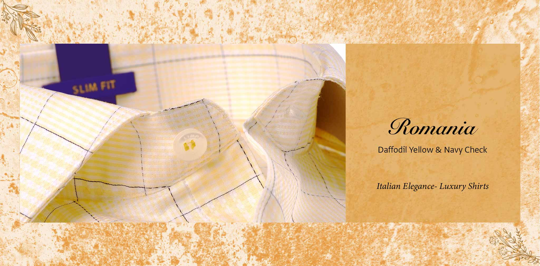 Romania- Daffodil Yellow & Navy Check- 2 Ply Pure Egyptian Giza Cotton- Delivery from 17th May - Banner