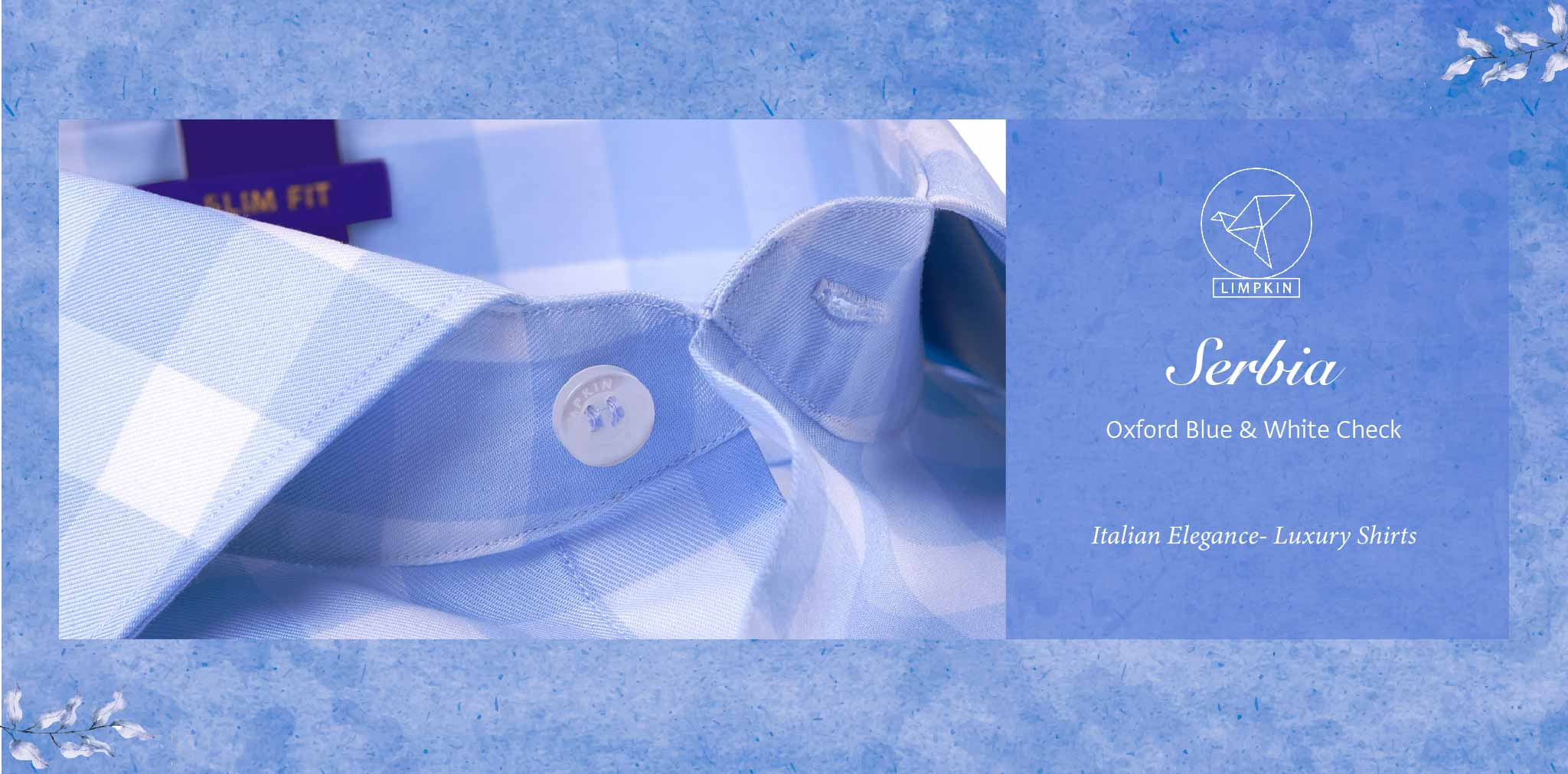 Serbia- Oxford Blue & White Check- 2 Ply Pure Egyptian Giza Cotton- Delivery from 5th April - Banner