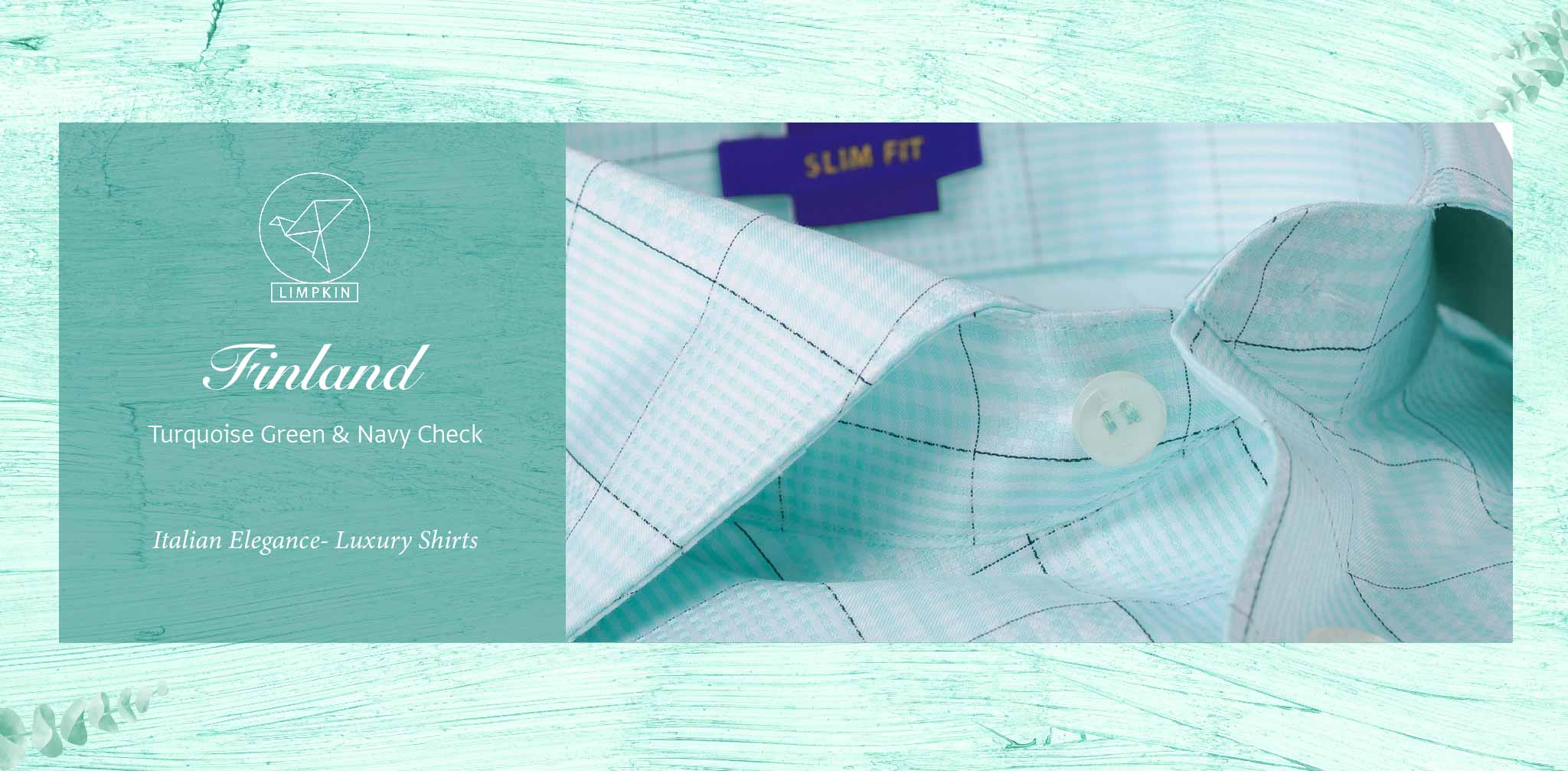 Finland- Turquoise Green & Navy Check- 2 Ply Pure Egyptian Giza Cotton- Delivery from 16th Jan - Banner