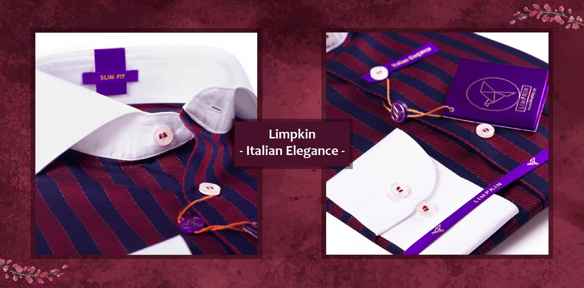 Trento- Burgundy & Navy Stripe- 2 Ply Pure Egyptian Giza Cotton- Delivery from 26th Jan - Banner