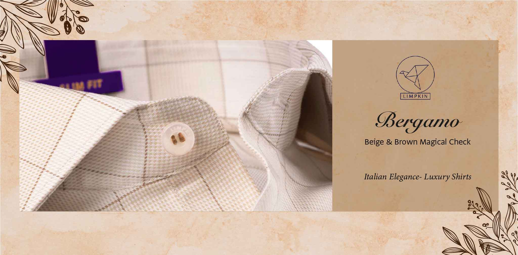 Bergamo- Beige & Brown Magical Check- 2 Ply Pure Egyptian Giza Cotton- Delivery from 28th Nov - Banner