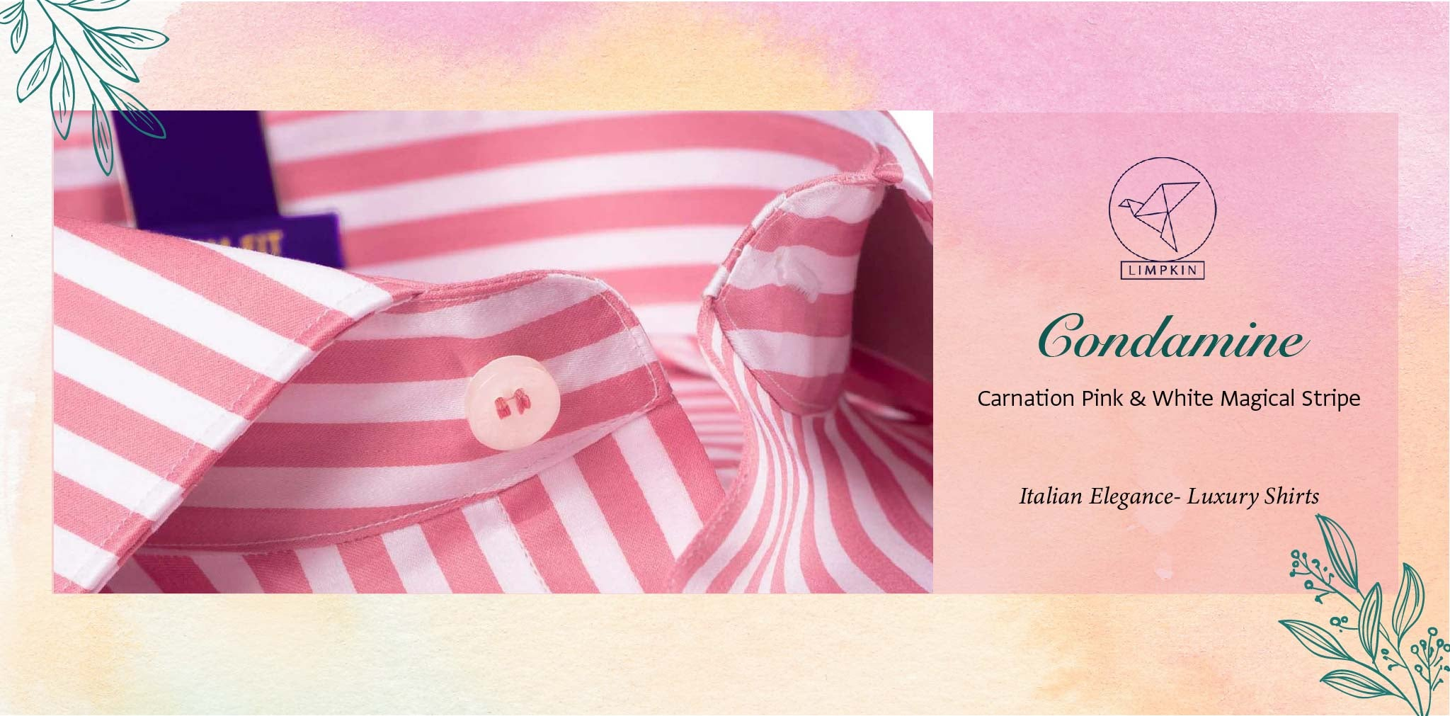 Condamine- Carnation Pink & White Stripe- 2 Ply Pure Egyptian Giza Cotton- Delivery from 3rd March - Banner