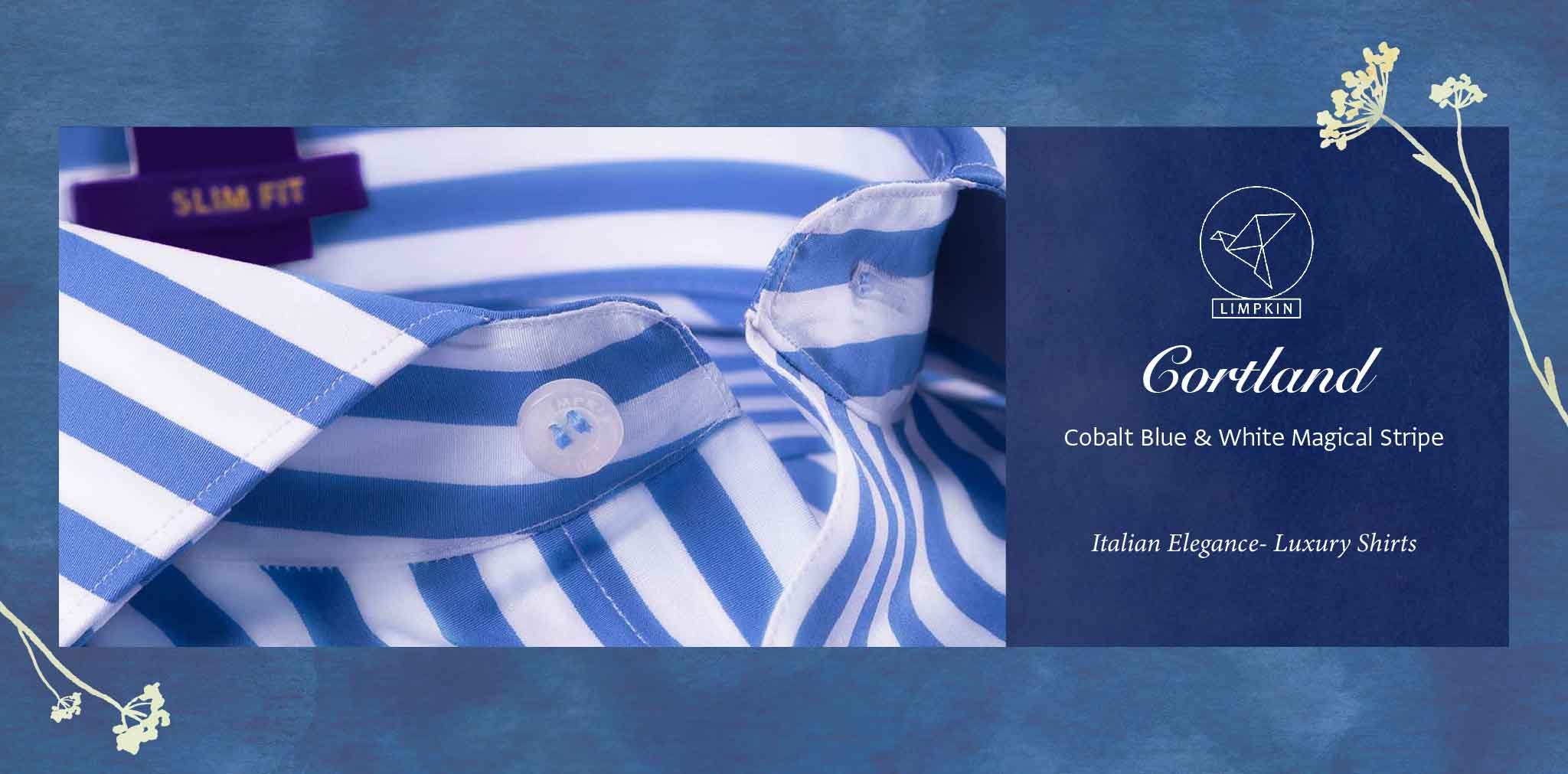 Cortland- Cobalt Blue & White Magical Stripe- 2 Ply Pure Egyptian Giza Cotton- Delivery from 17th May - Banner