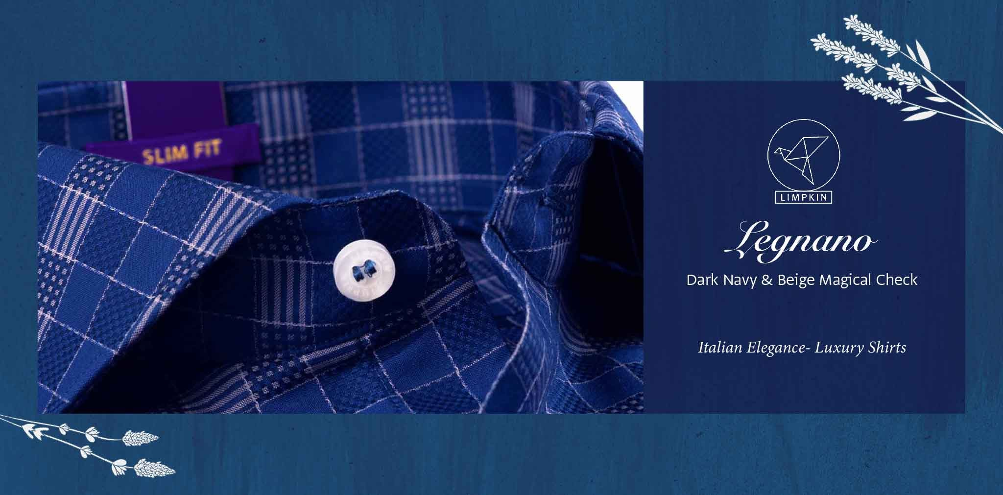 Legnano- Dark Navy & Beige Magical Check- 2 Ply Pure Egyptian Giza Cotton- Delivery from 3rd March - Banner