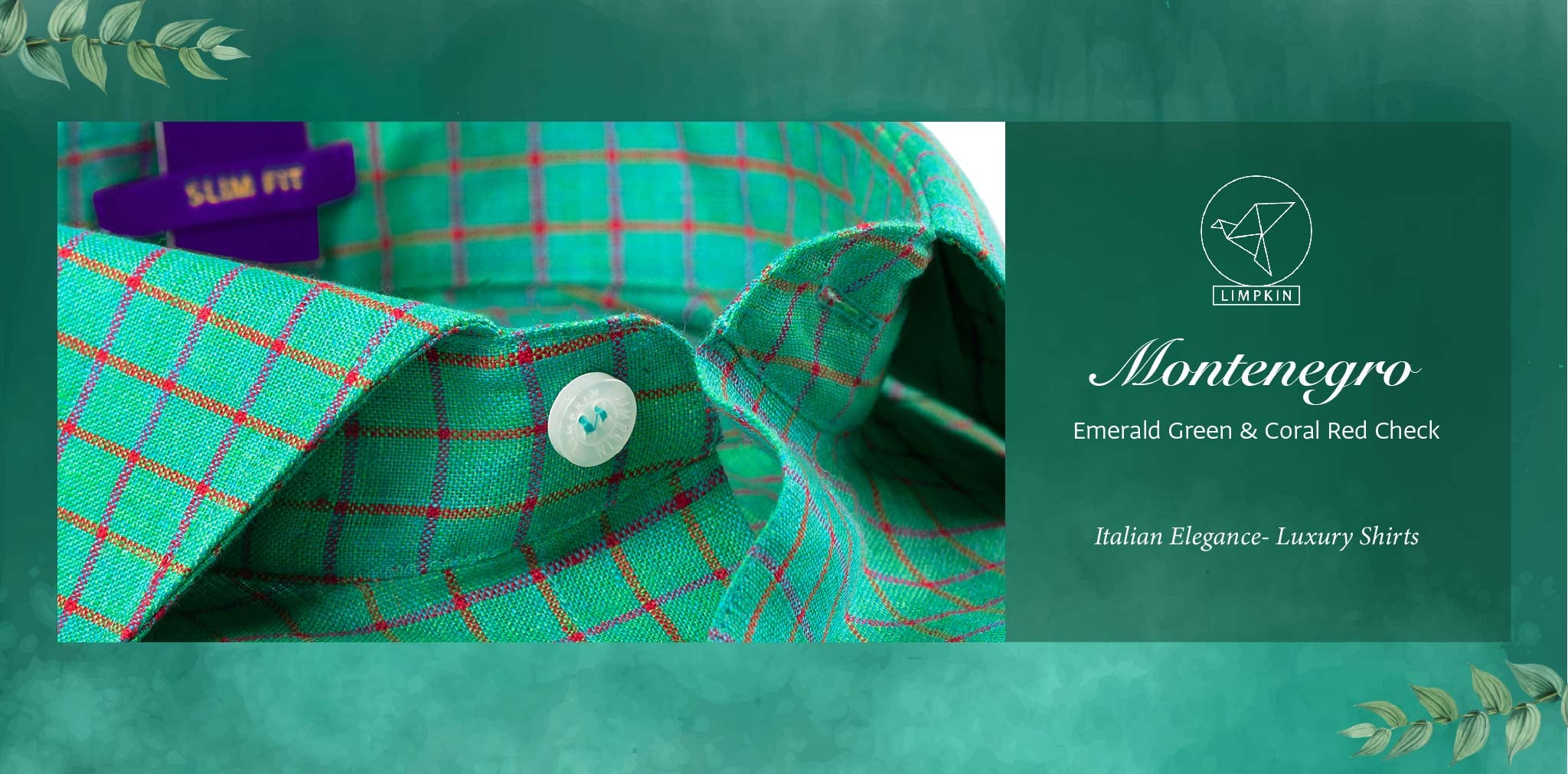 Montenegro- Emerald Green & Coral Red Check- 66's Lea Pure Luxury Linen- Delivery from 17th May - Banner
