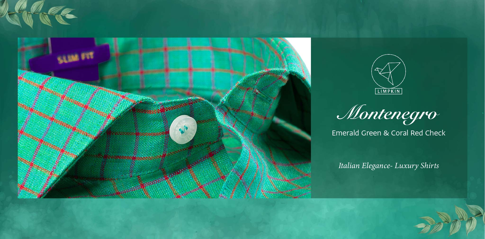 Montenegro- Emerald Green & Coral Red Check- 66's Lea Pure Luxury Linen- Delivery from 26th Jan - Banner