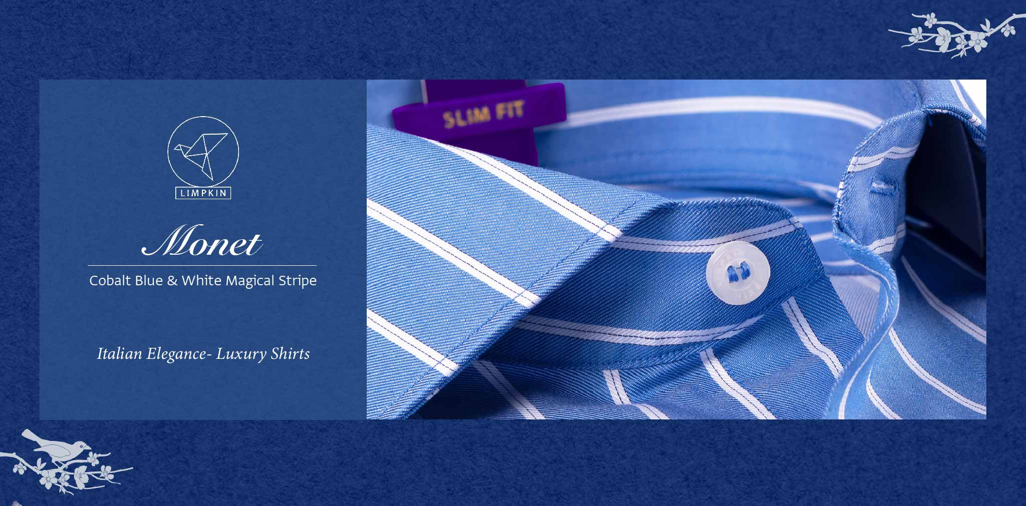 Monet- Cobalt Blue & White Magical Stripe- 2 Ply Pure Egyptian Giza Cotton- Delivery from 4th August - Banner