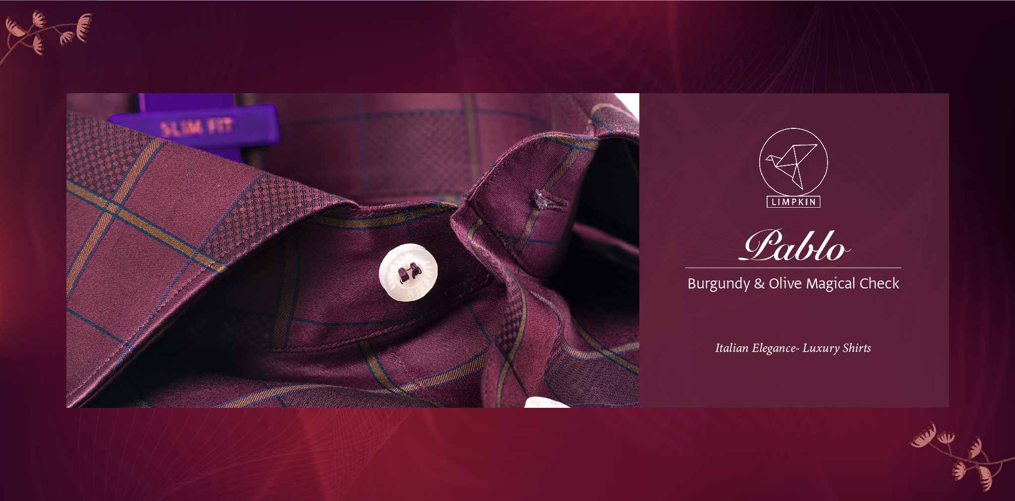 Pablo- Burgundy & Olive Magical Check- 2 Ply Pure Egyptian Giza Cotton- Delivery from 19th April - Banner