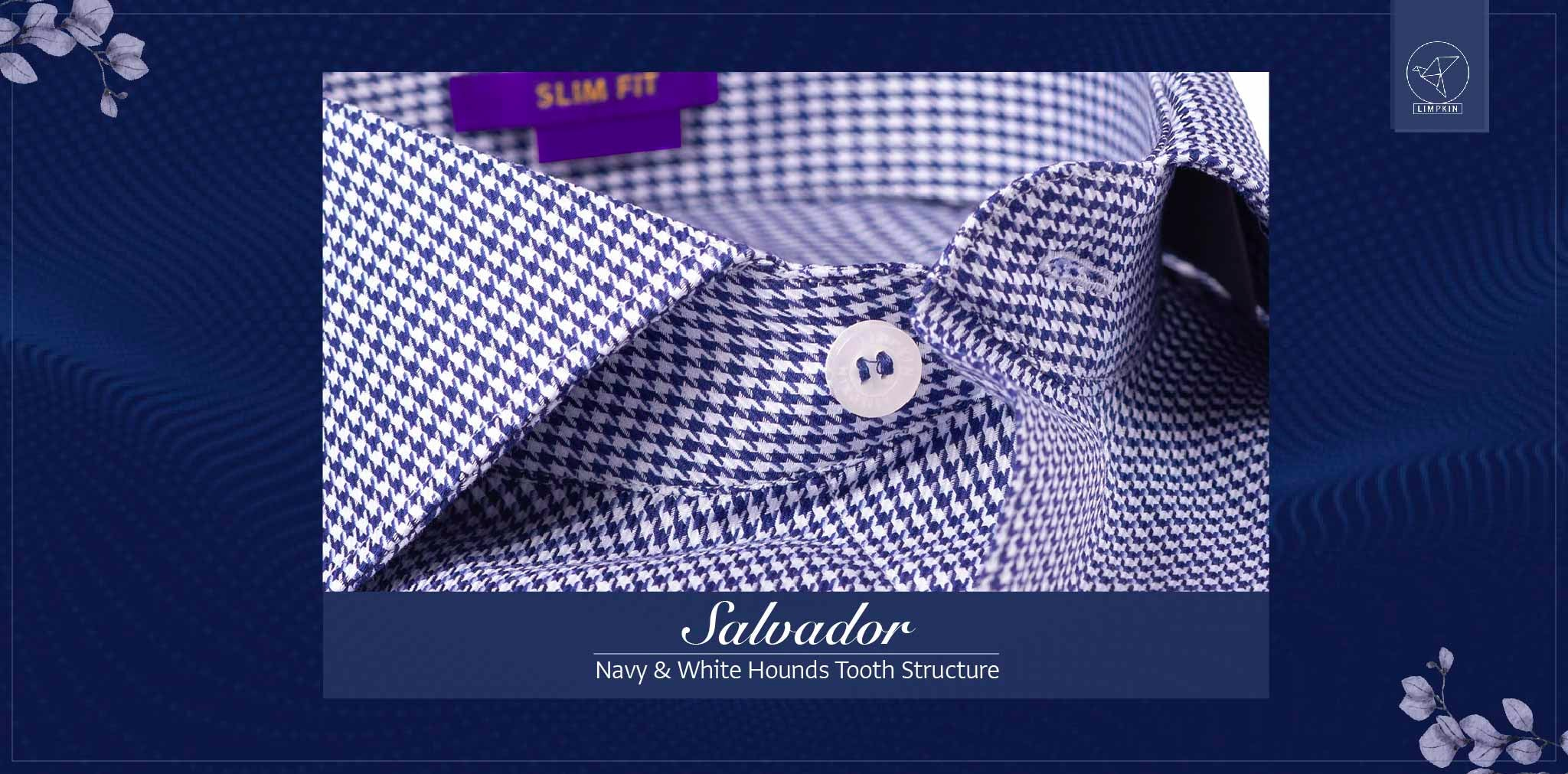 Salvador- Navy & White Hounds Tooth Structure- 2 Ply Pure Egyptian Giza Cotton- Delivery from 26th Jan - Banner