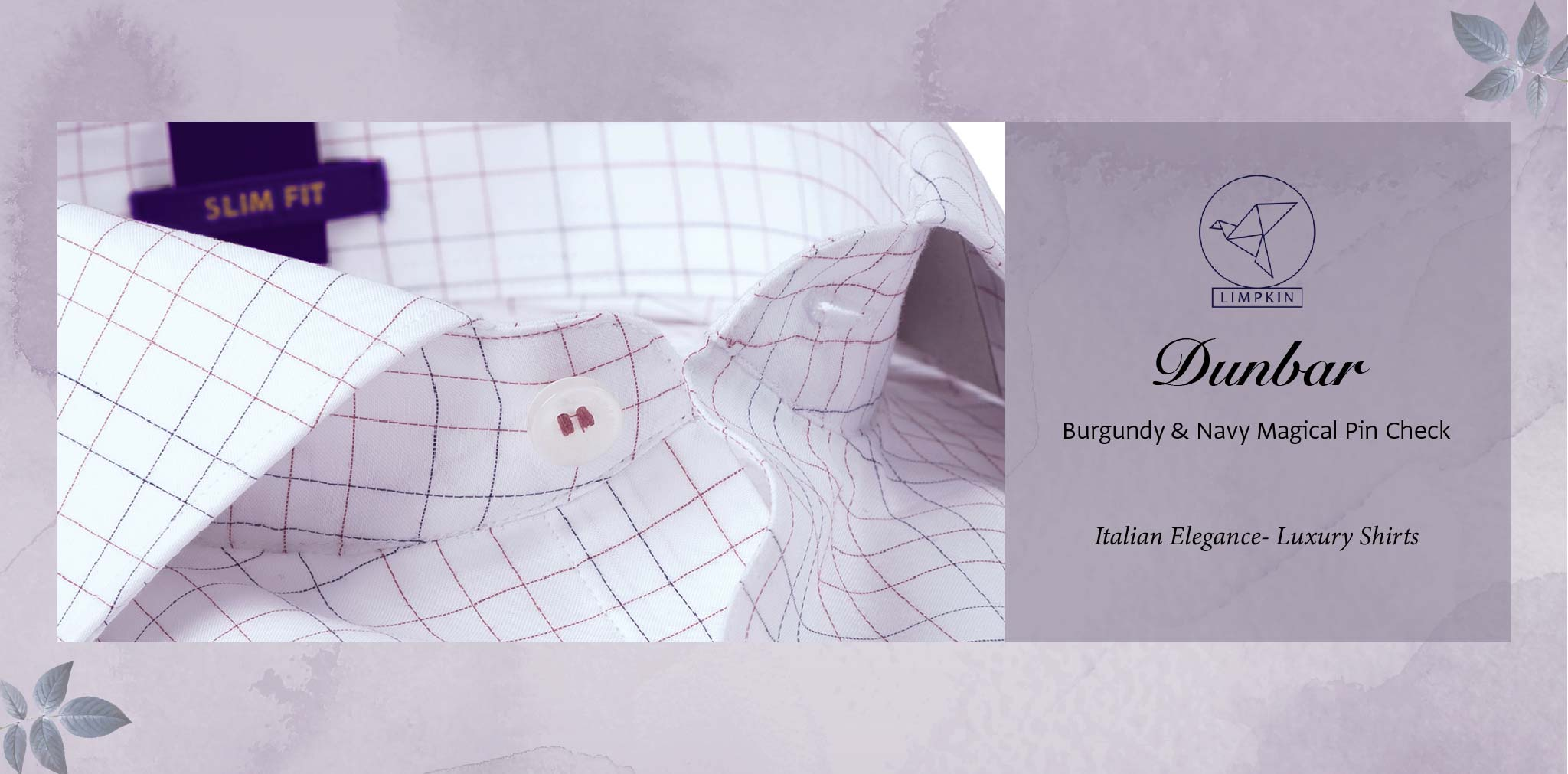 Dunbar- Burgundy & Navy Magical Pin Check- 2 Ply Pure Egyptian Giza Cotton- Delivery from 20th Oct - Banner
