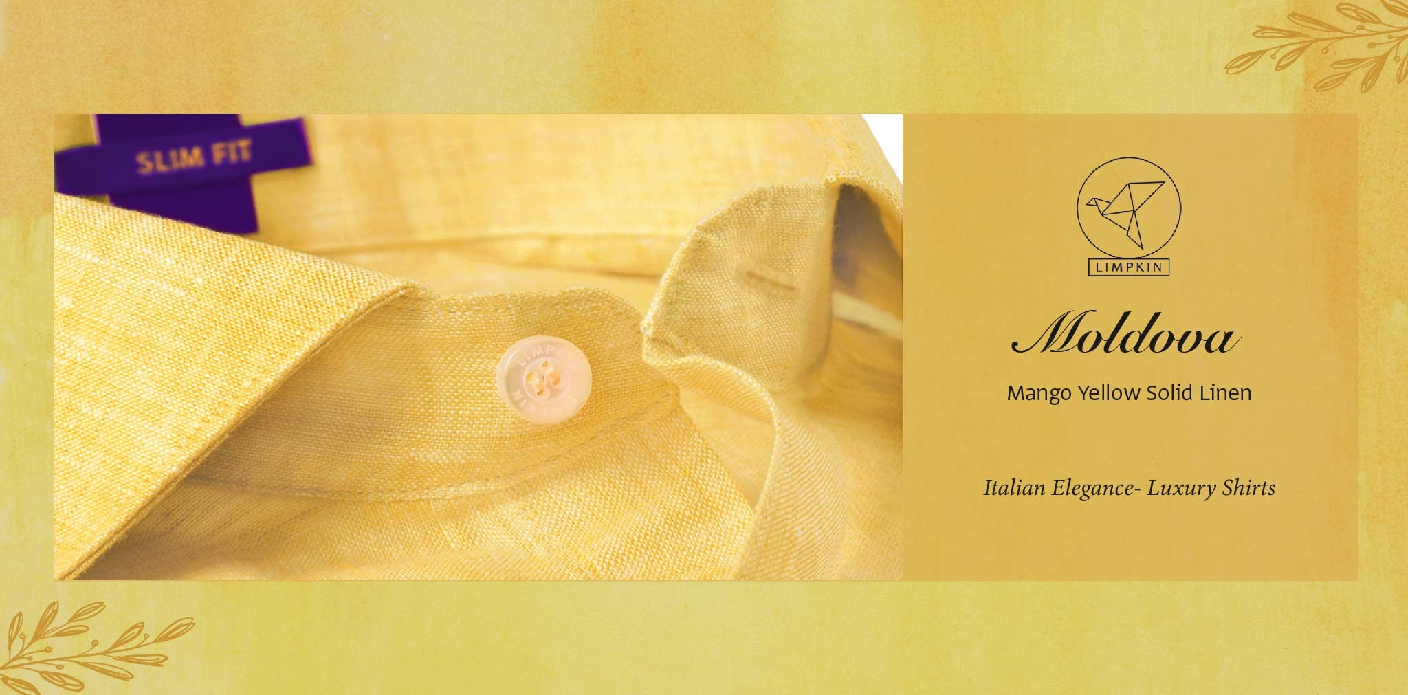 Moldova- Mango Yellow Solid Linen- 66's Lea Pure Luxury Linen- Delivery from 16th Jan - Banner