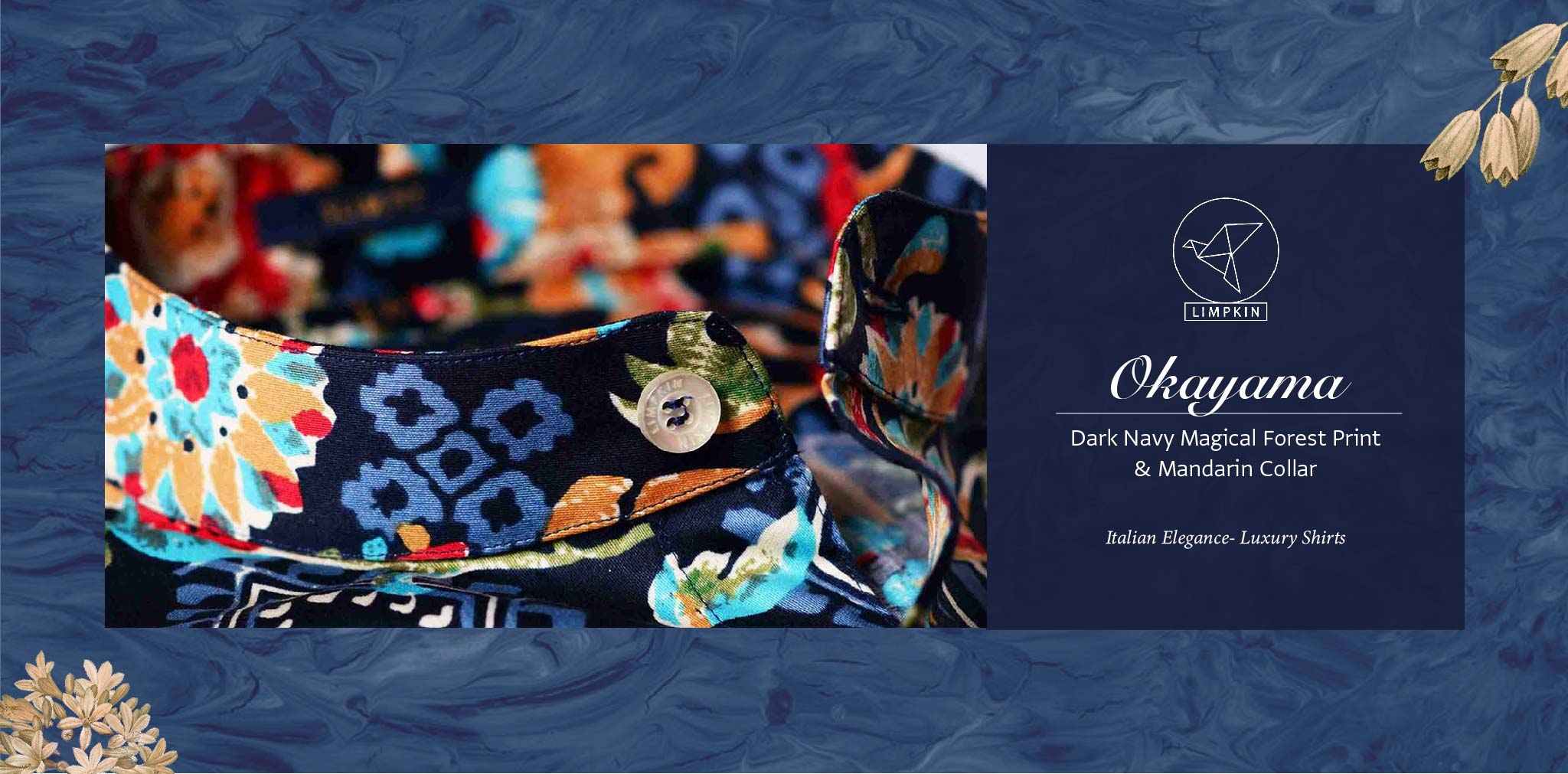 Okayama- Dark Navy Magical Forest Print & Mandarin Collar- Pure Egyptian Giza Cotton- Delivery from 25th Nov - Banner