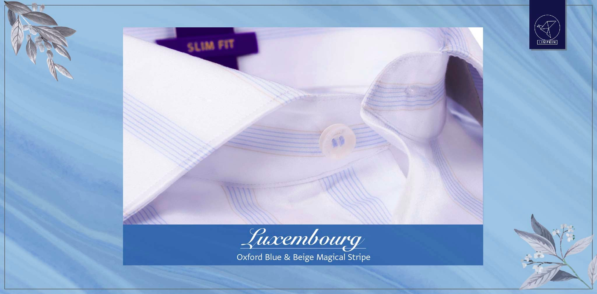 Luxembourg- Oxford Blue & Beige Magical Stripe- 2 Ply Pure Egyptian Giza Cotton- Delivery from 30th Nov - Banner